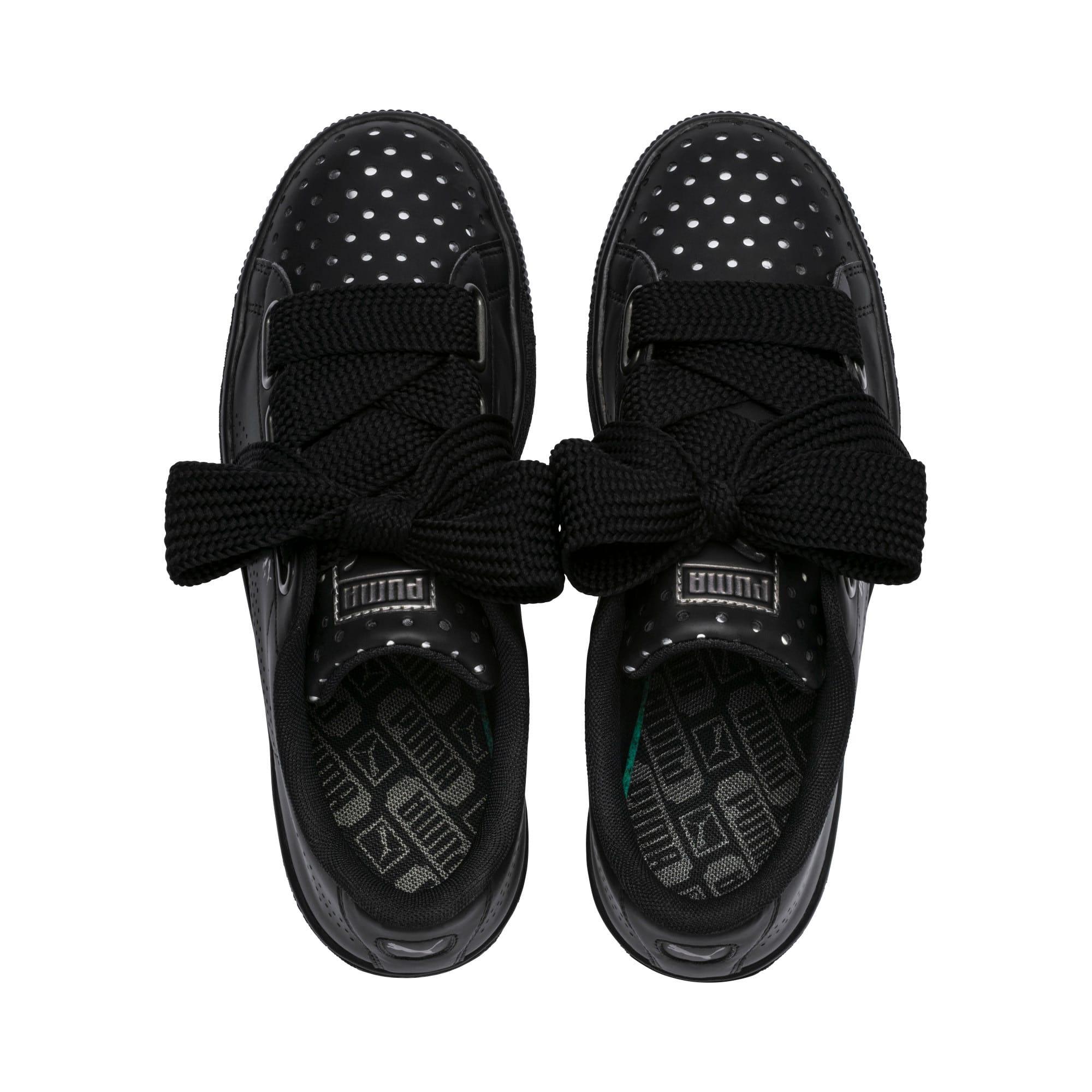 Thumbnail 6 of Basket Heart Lux Women's Sneakers, Puma Black-Puma Black, medium