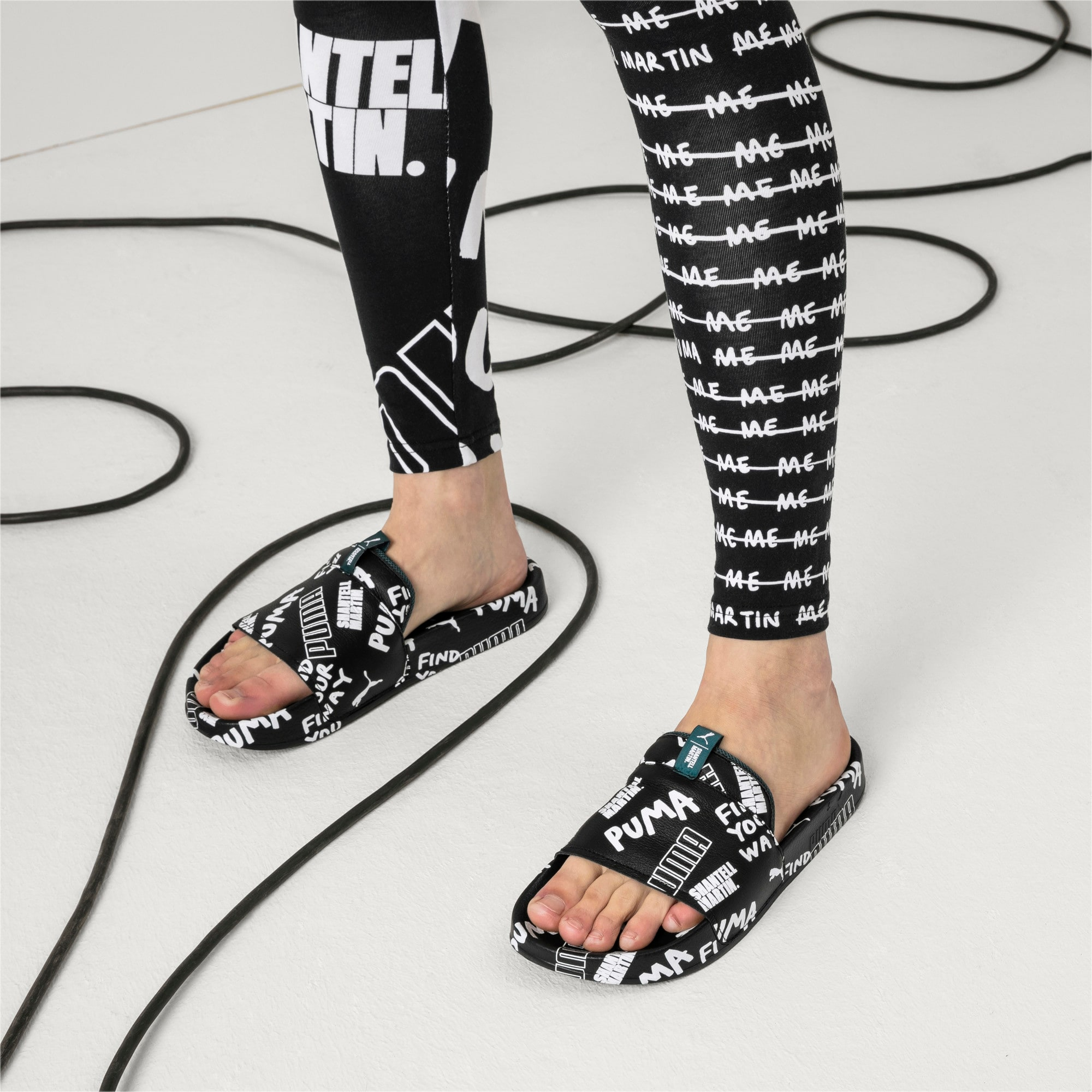 PUMA x SHANTELL MARTIN Leadcat Graphic Sandals, Puma Black-White-Dragonfly, large