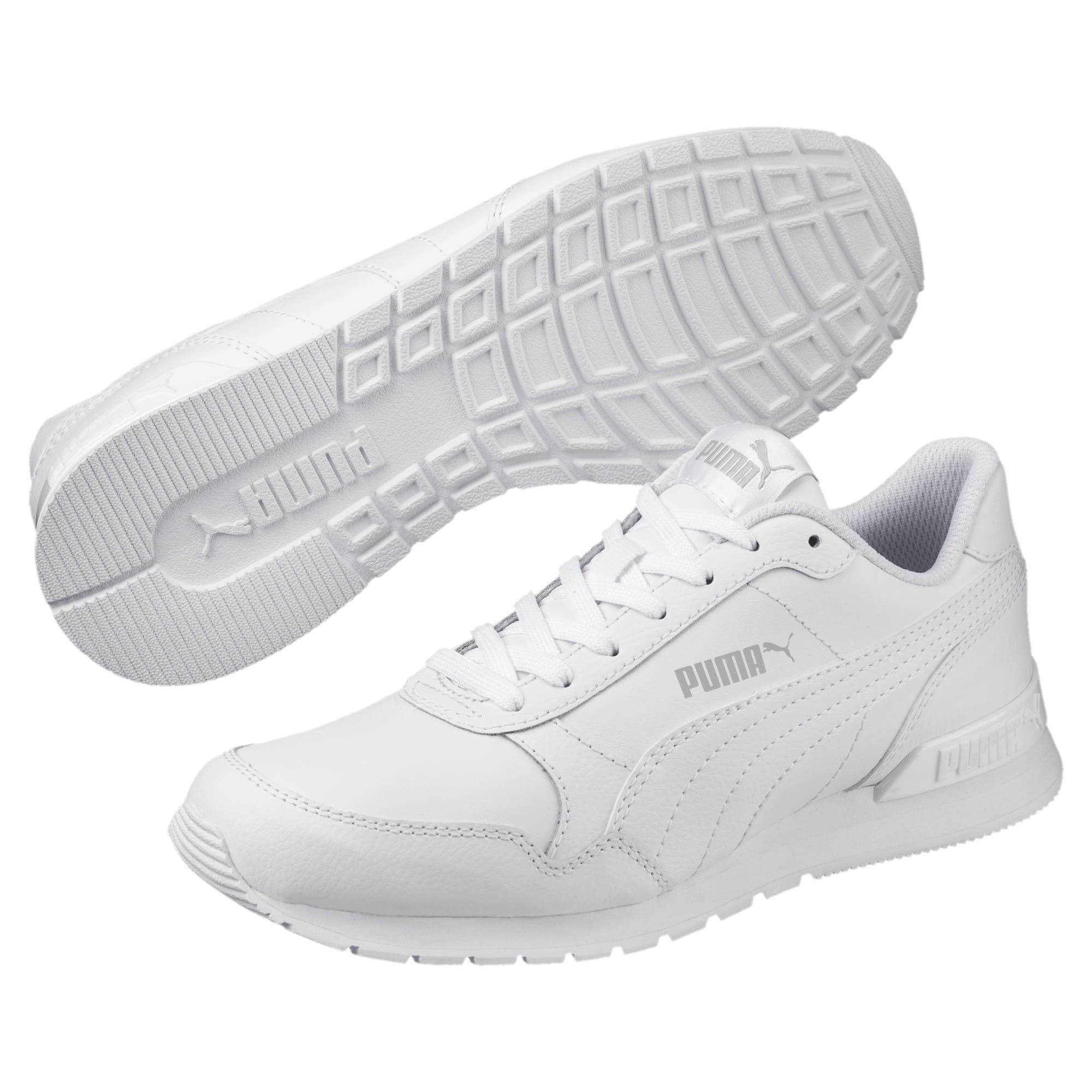 Thumbnail 2 of ST Runner v2 Leather Sneakers JR, Puma White-Gray Violet, medium