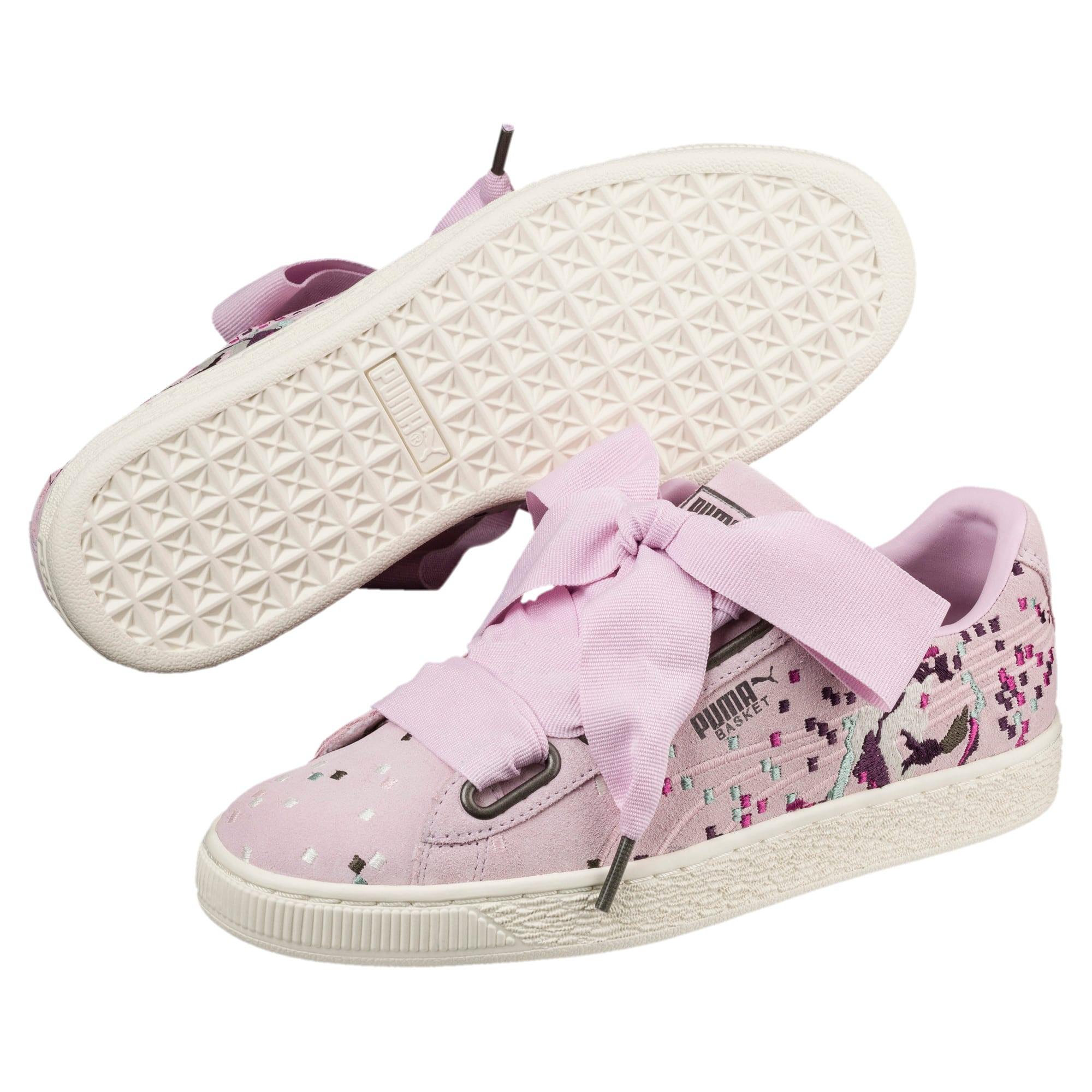 Thumbnail 2 of Suede Heart Embossed Women's Sneakers, Winsome Orchid, medium