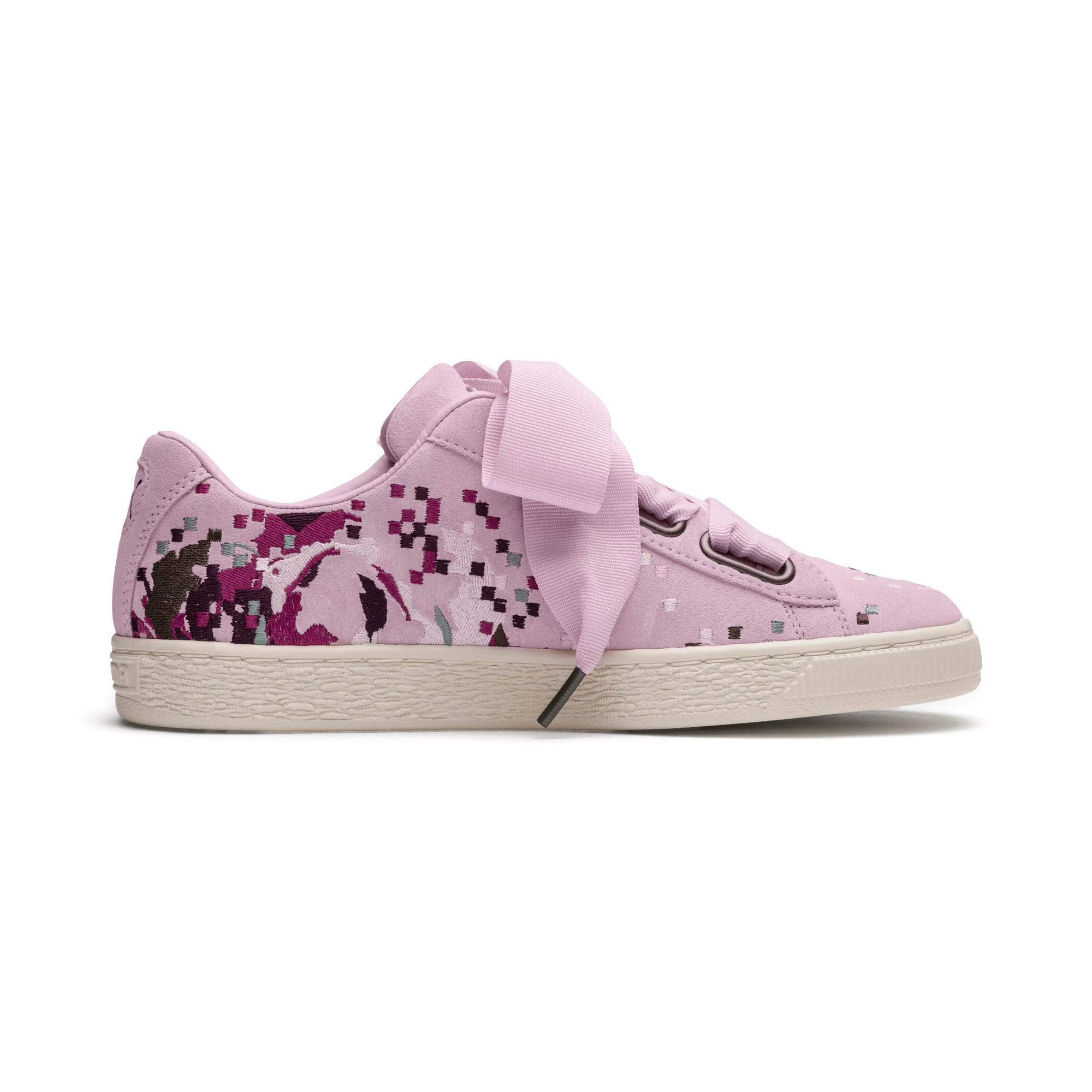 Thumbnail 5 of Suede Heart Embossed Women's Sneakers, Winsome Orchid, medium