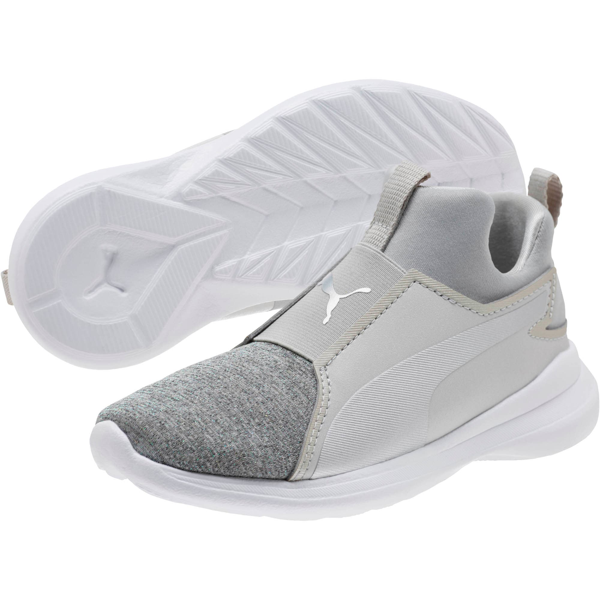 Thumbnail 2 of Puma Rebel Mid Glow Little Kids' Shoes, Gray Violet-Puma Silver, medium
