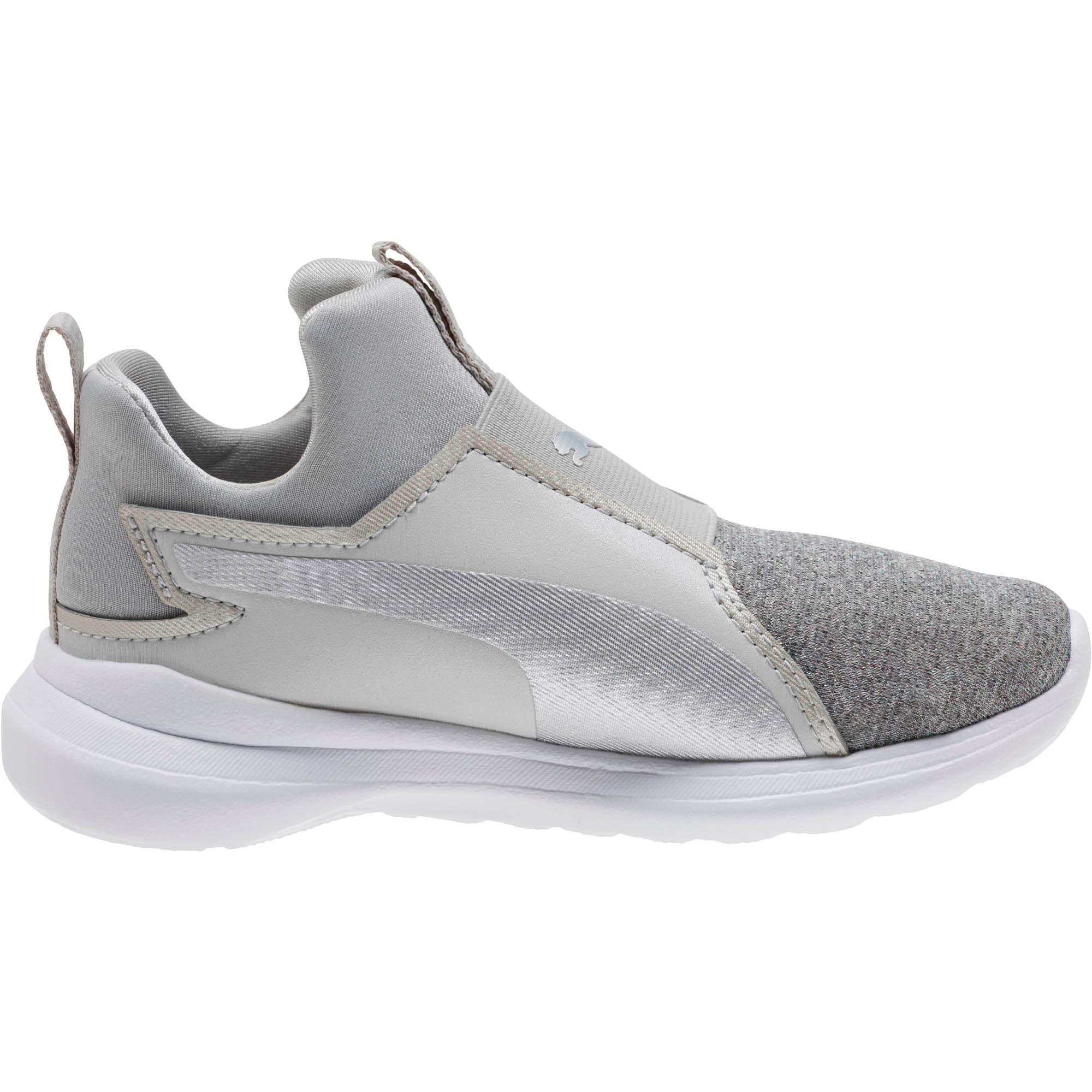 Thumbnail 3 of Puma Rebel Mid Glow Little Kids' Shoes, Gray Violet-Puma Silver, medium