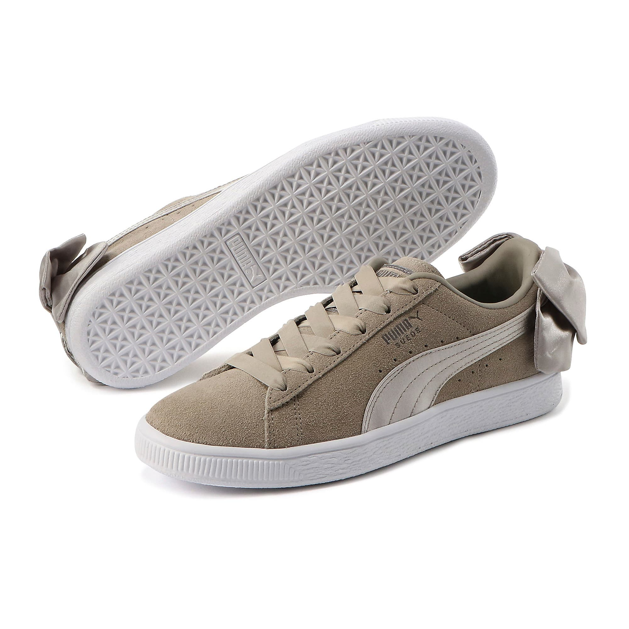Thumbnail 2 of Suede Bow Women's Sneakers, Elephant Skin-Silver Cloud, medium