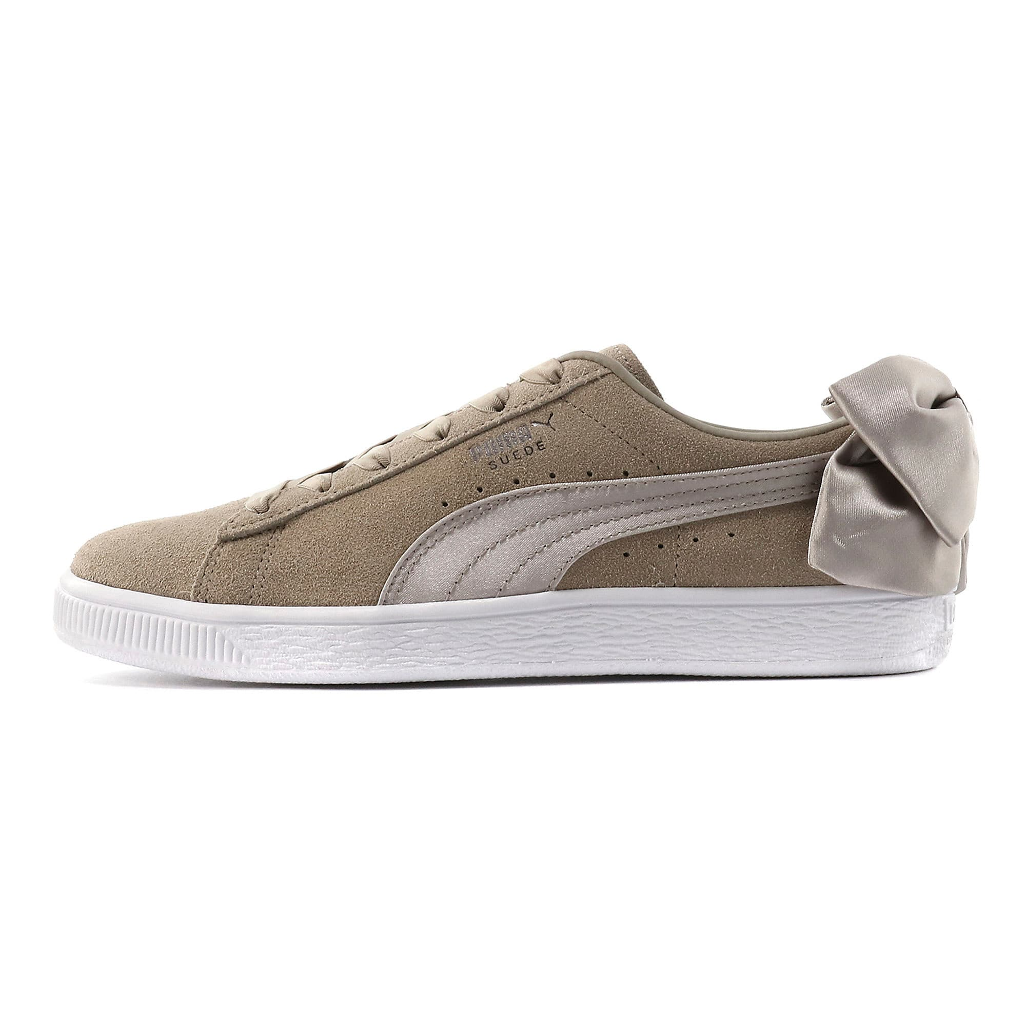 Thumbnail 1 of Suede Bow Women's Sneakers, Elephant Skin-Silver Cloud, medium