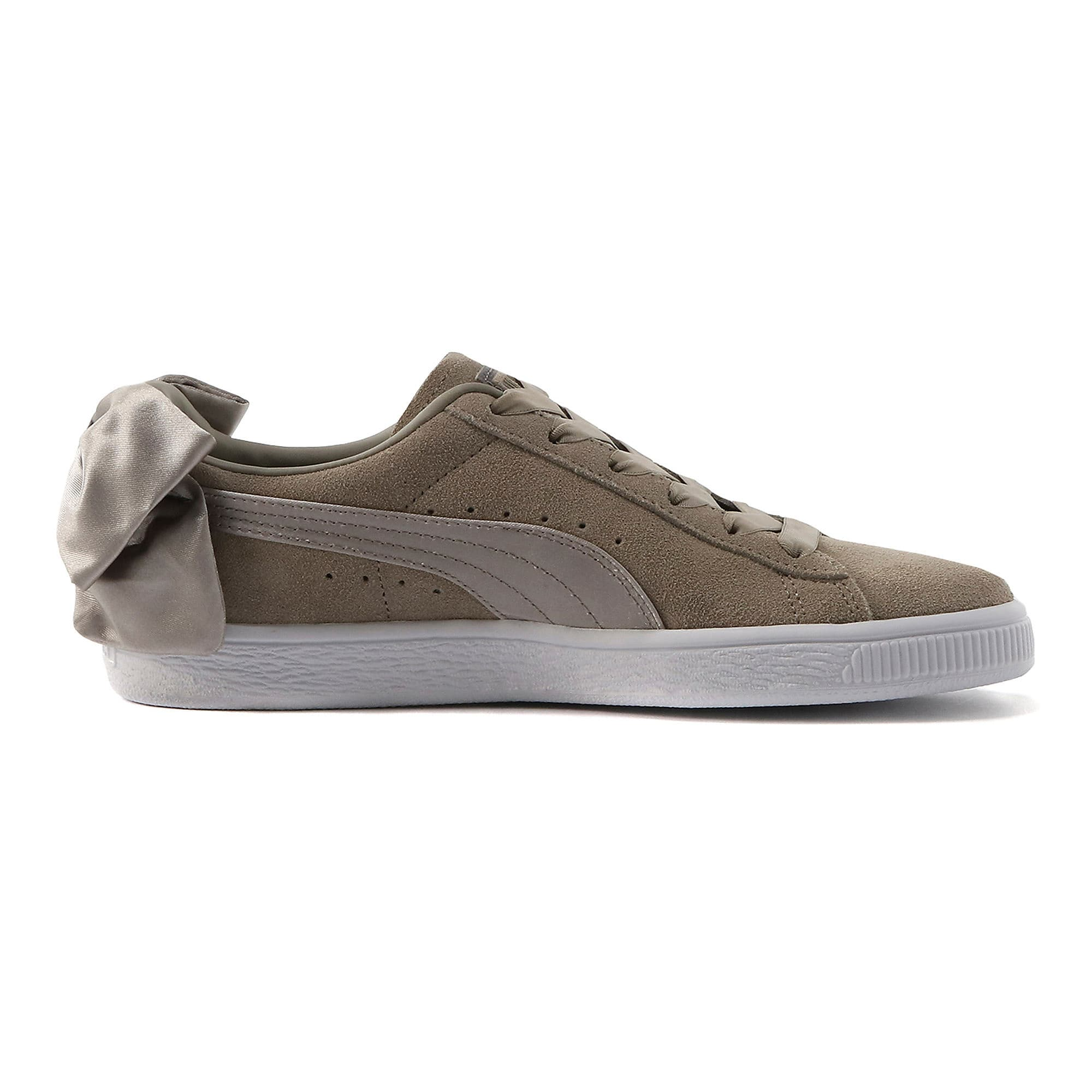 Thumbnail 5 of Suede Bow Women's Sneakers, Elephant Skin-Silver Cloud, medium