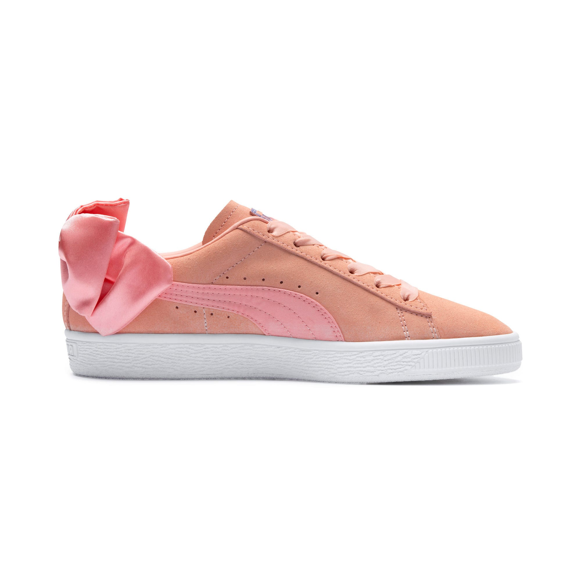 Thumbnail 5 of Suede Bow Damen, Peach Bud-Puma White, medium