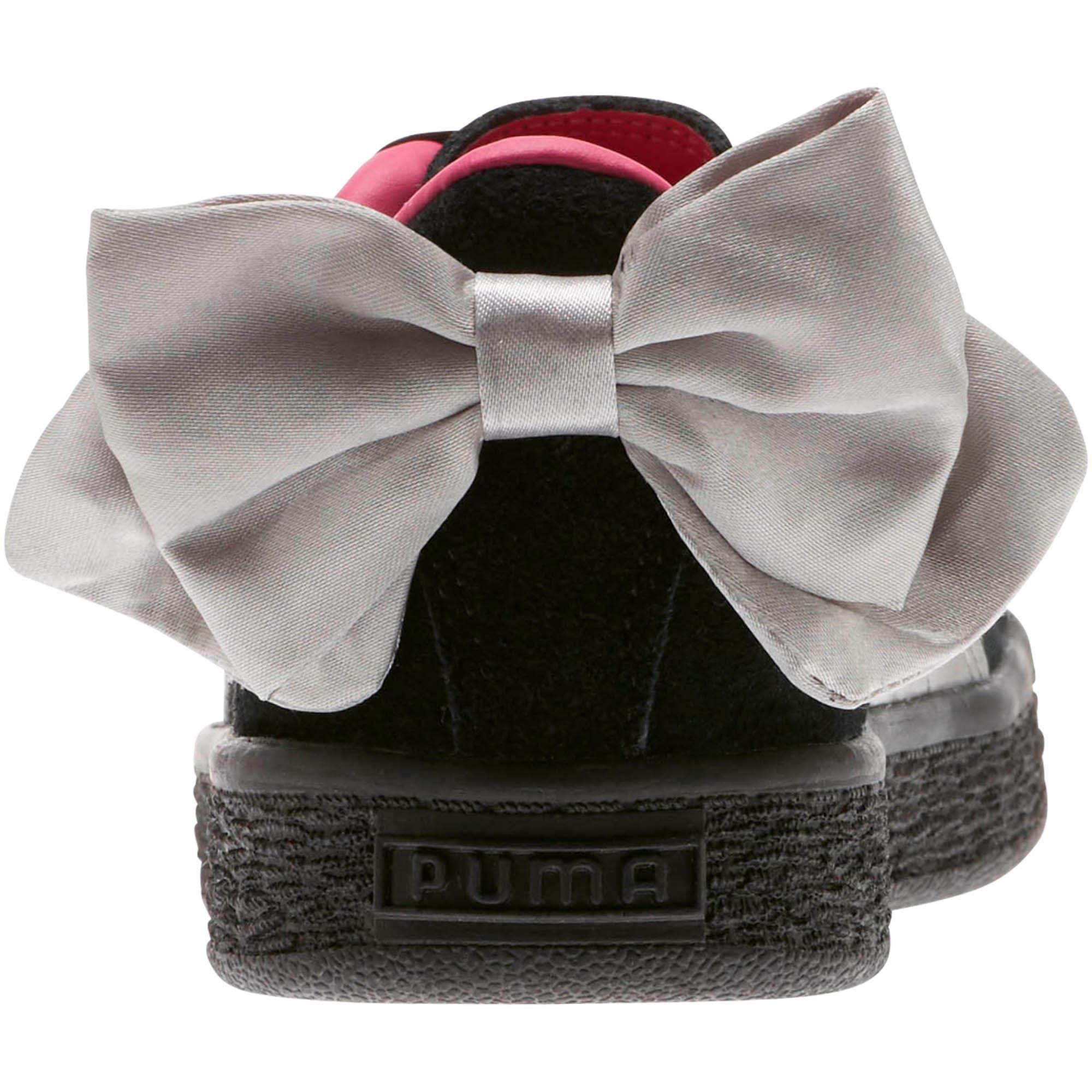 Thumbnail 4 of Suede Bow AC Little Kids' Shoes, Puma Black-Fuchsia Purple, medium