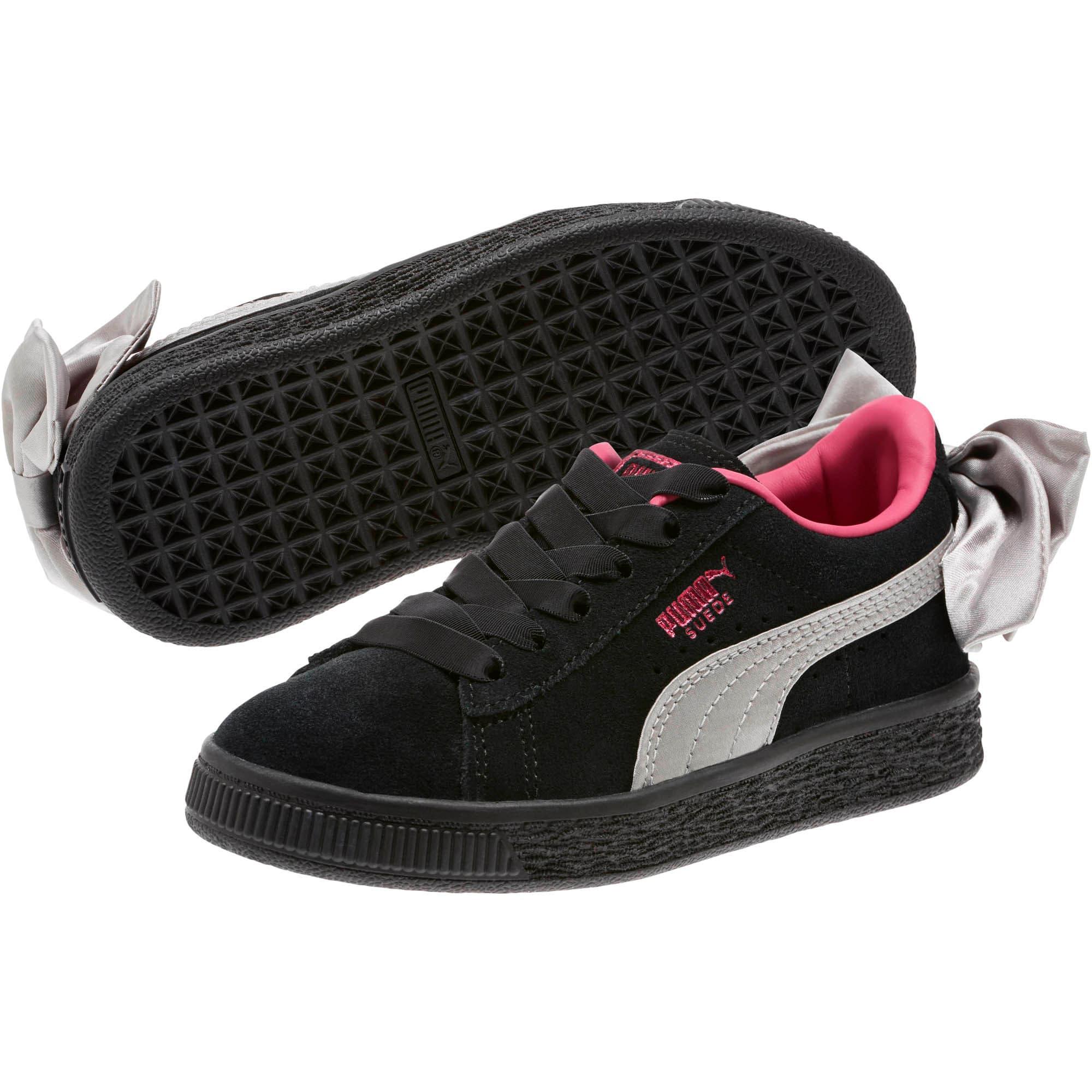 Thumbnail 2 of Suede Bow AC Little Kids' Shoes, Puma Black-Fuchsia Purple, medium