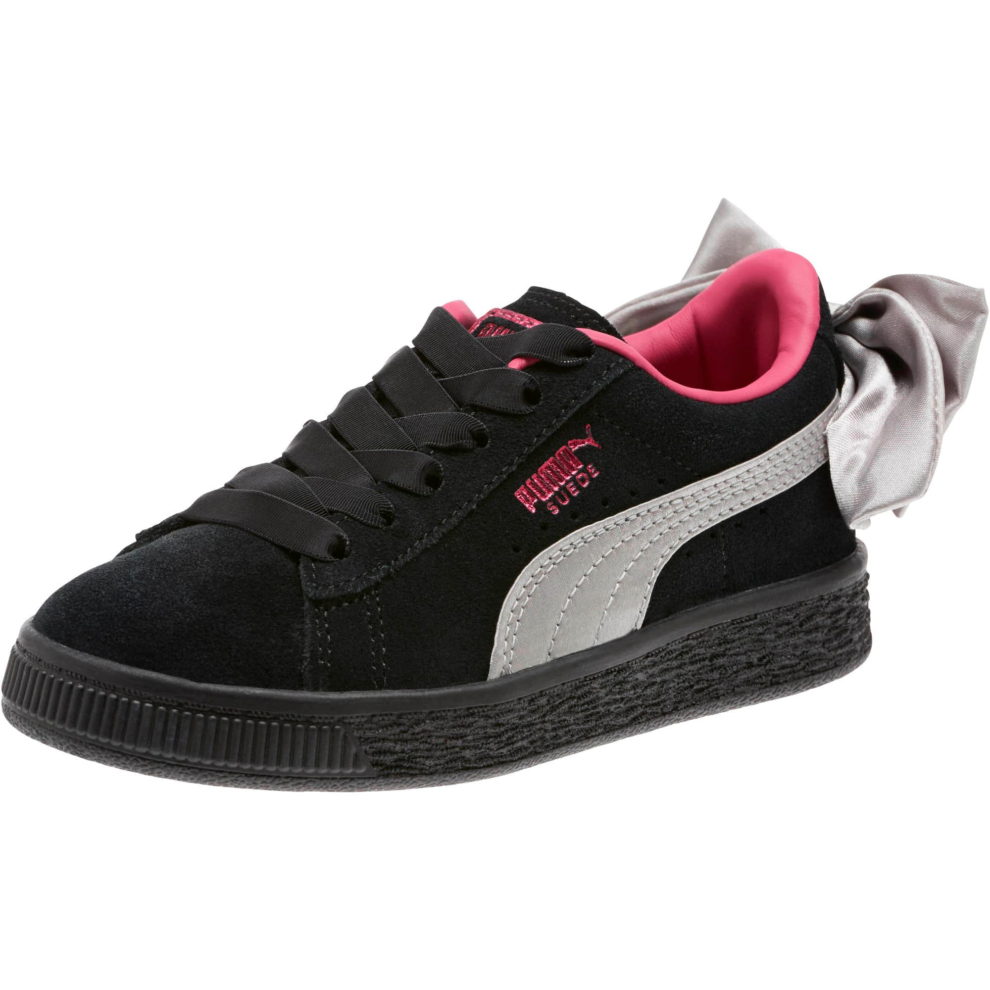 Thumbnail 1 of Suede Bow AC Little Kids' Shoes, Puma Black-Fuchsia Purple, medium