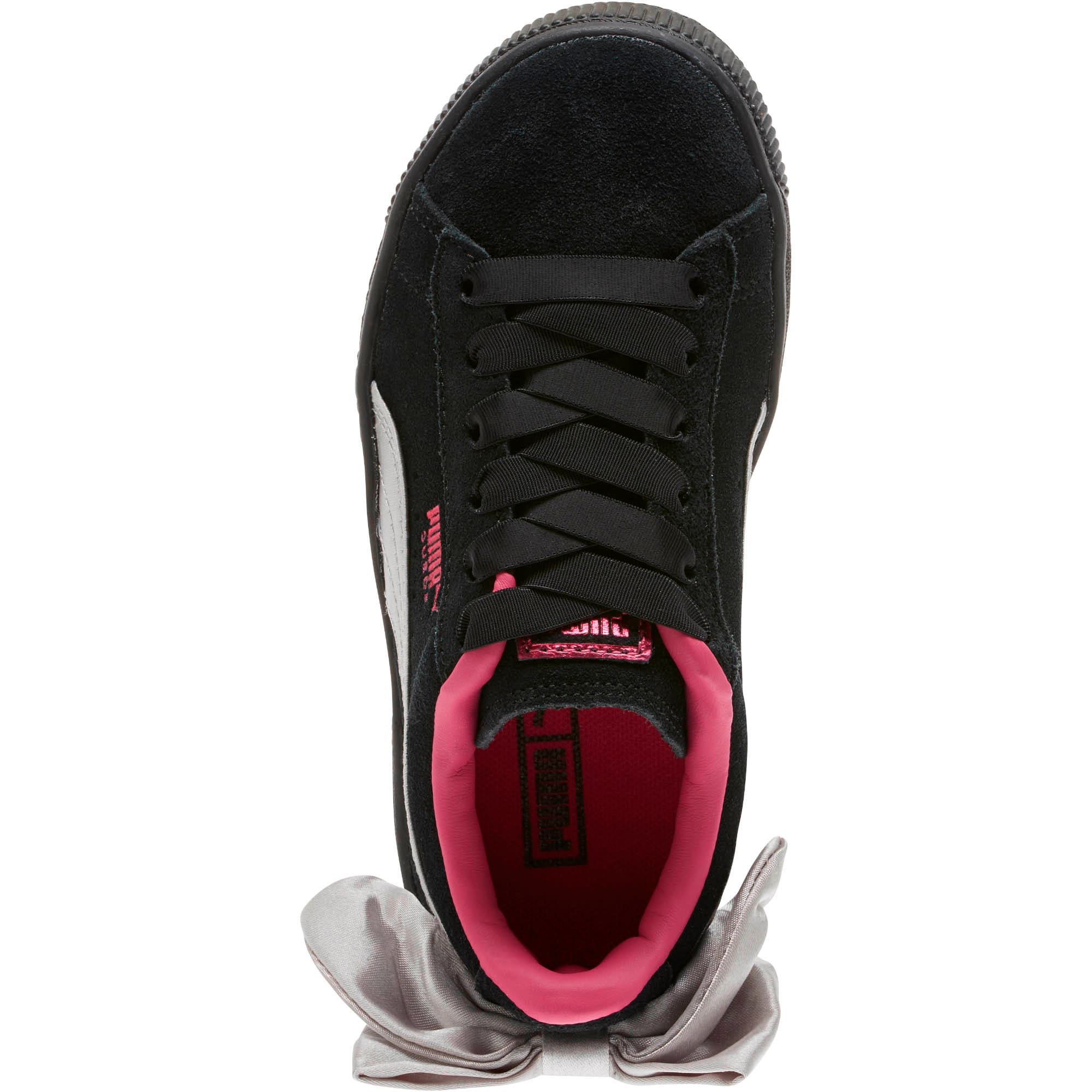 Thumbnail 5 of Suede Bow AC Little Kids' Shoes, Puma Black-Fuchsia Purple, medium