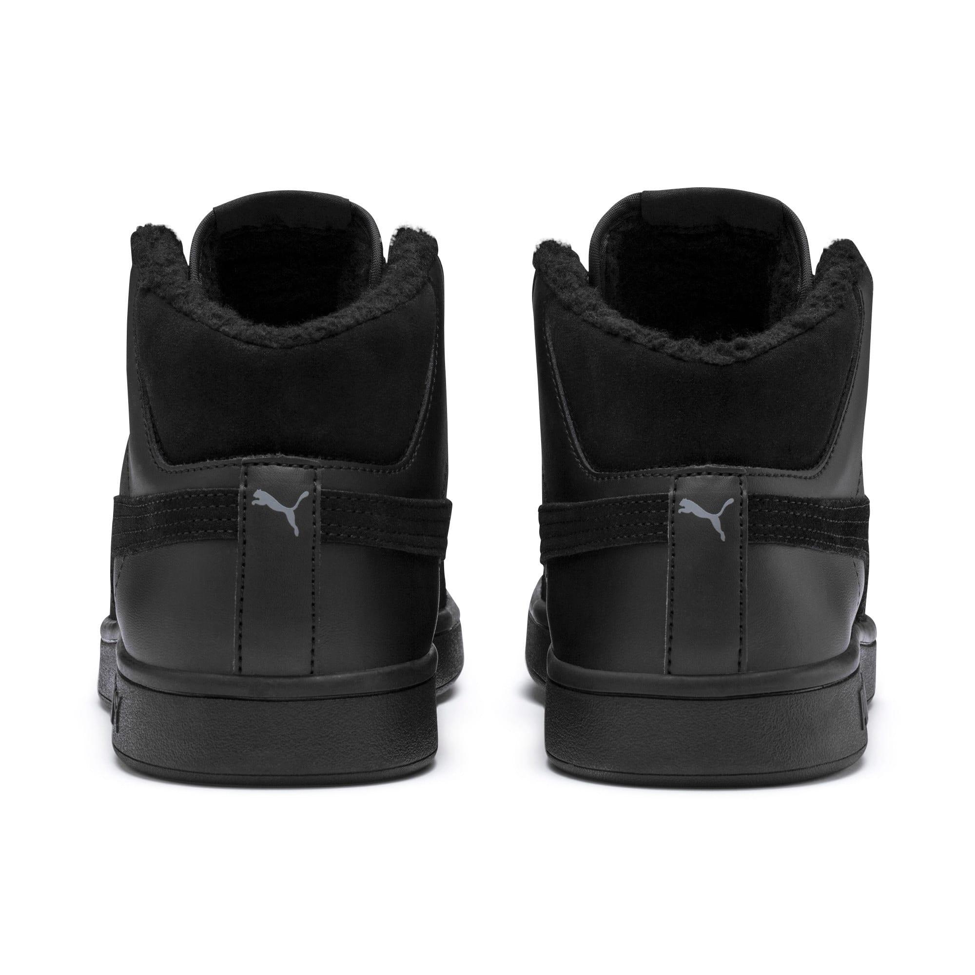 Thumbnail 4 of Smash v2 Mid Winterized Leather High Tops, Puma Black-CASTLEROCK, medium