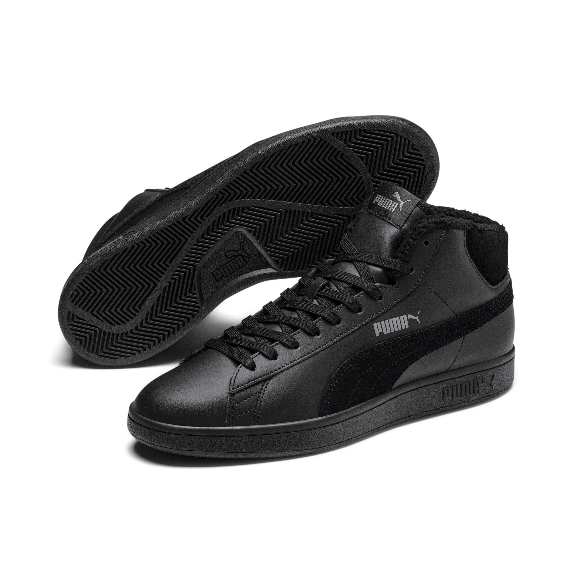 Thumbnail 3 of Smash v2 Mid Winterized Leather High Tops, Puma Black-CASTLEROCK, medium