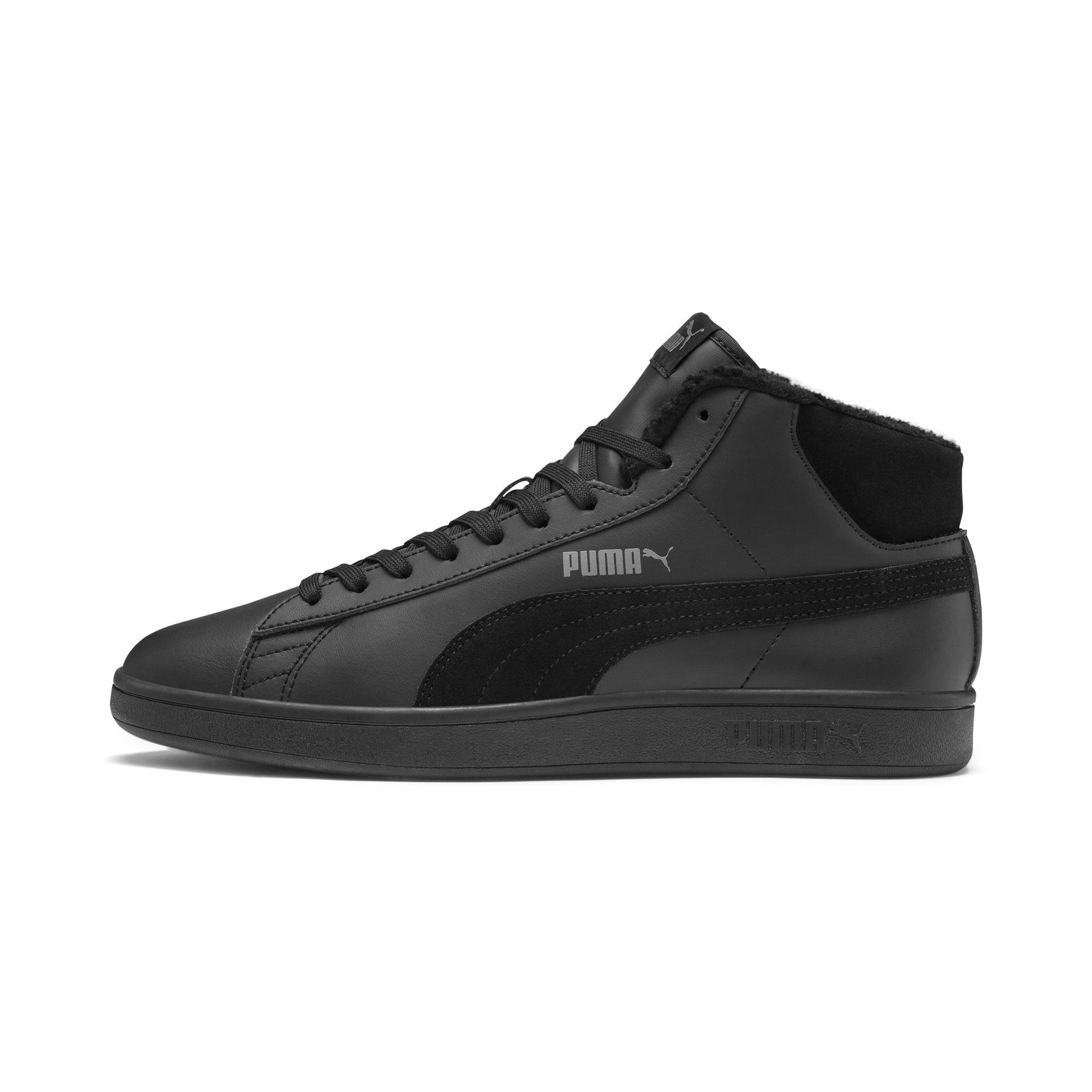 Thumbnail 1 of Smash v2 Mid Winterized Leather High Tops, Puma Black-CASTLEROCK, medium