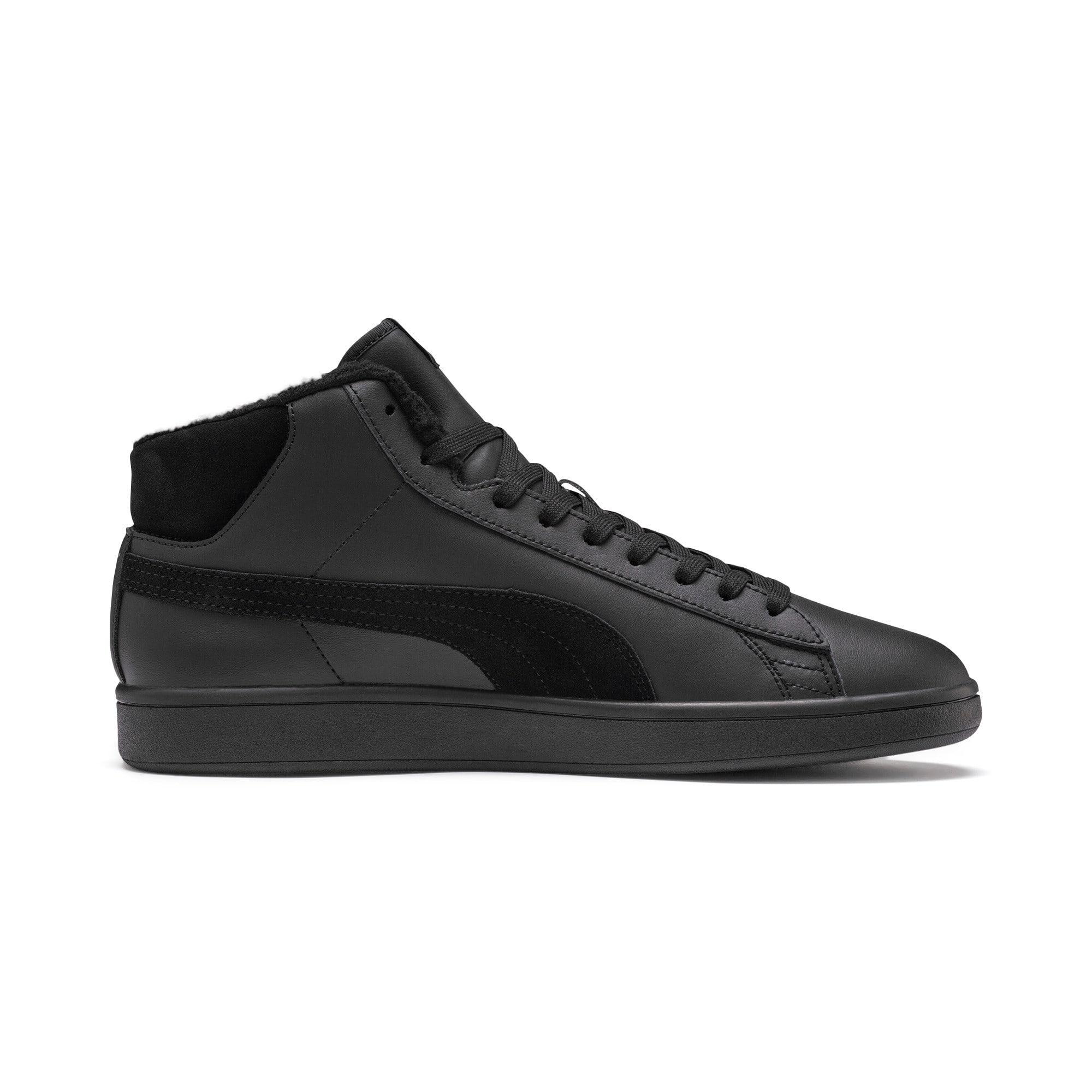 Thumbnail 6 of Smash v2 Mid Winterized Leather High Tops, Puma Black-CASTLEROCK, medium