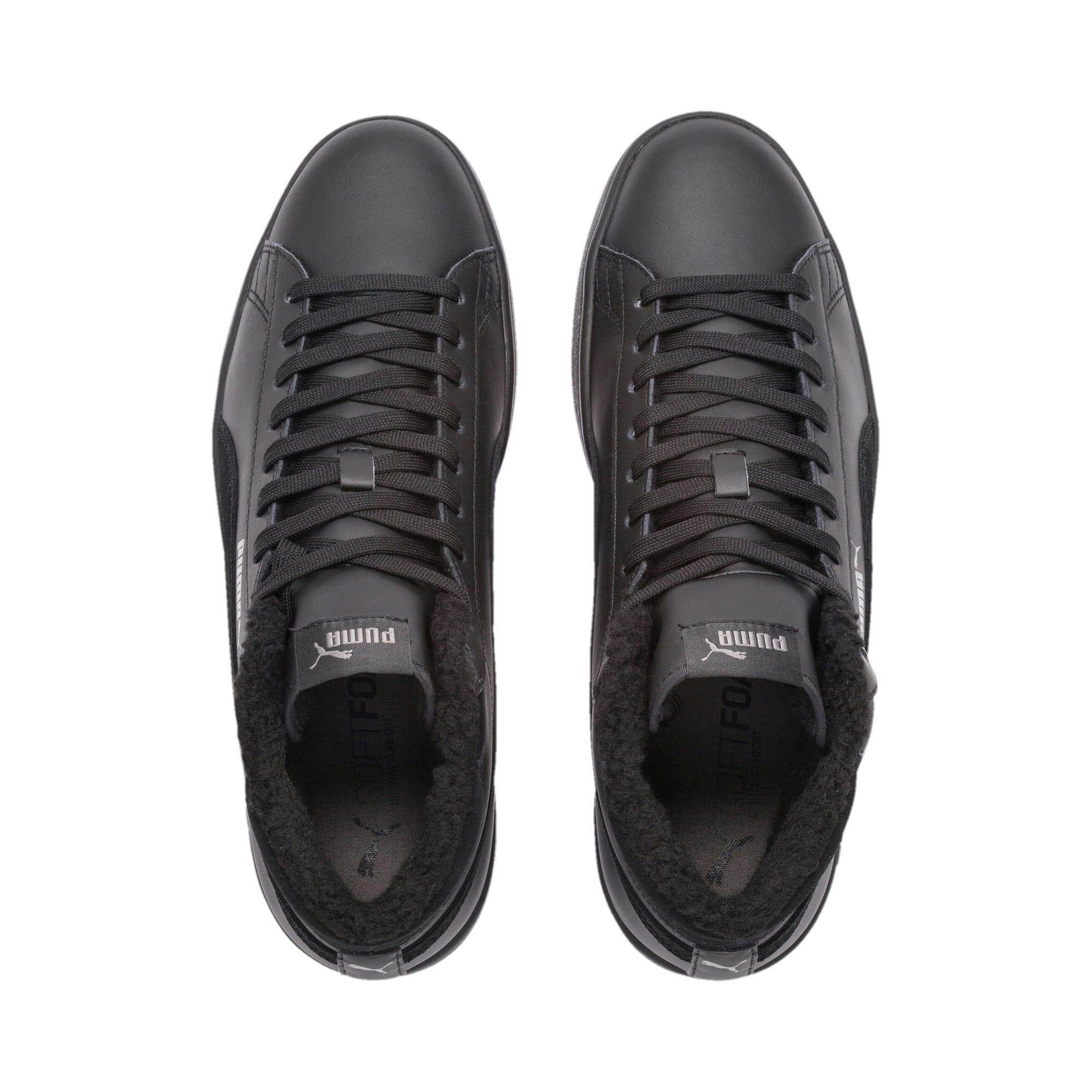 Thumbnail 7 of Smash v2 Mid Winterized Leather High Tops, Puma Black-CASTLEROCK, medium