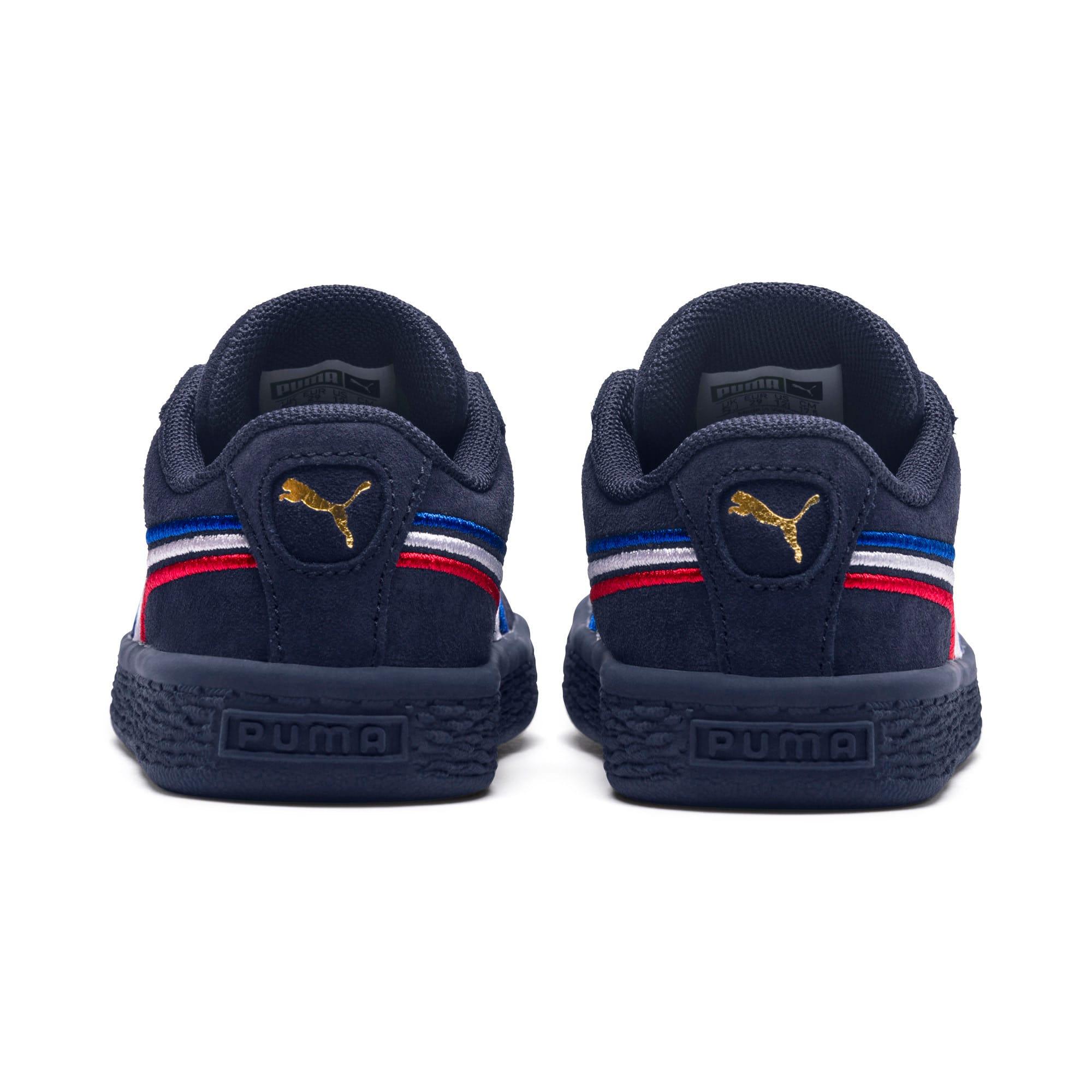 Miniatura 4 de Zapatos Suede Classic con bordado multicolor para niño pequeño, Peacoat-Blanco-Rojo-Azul, mediano