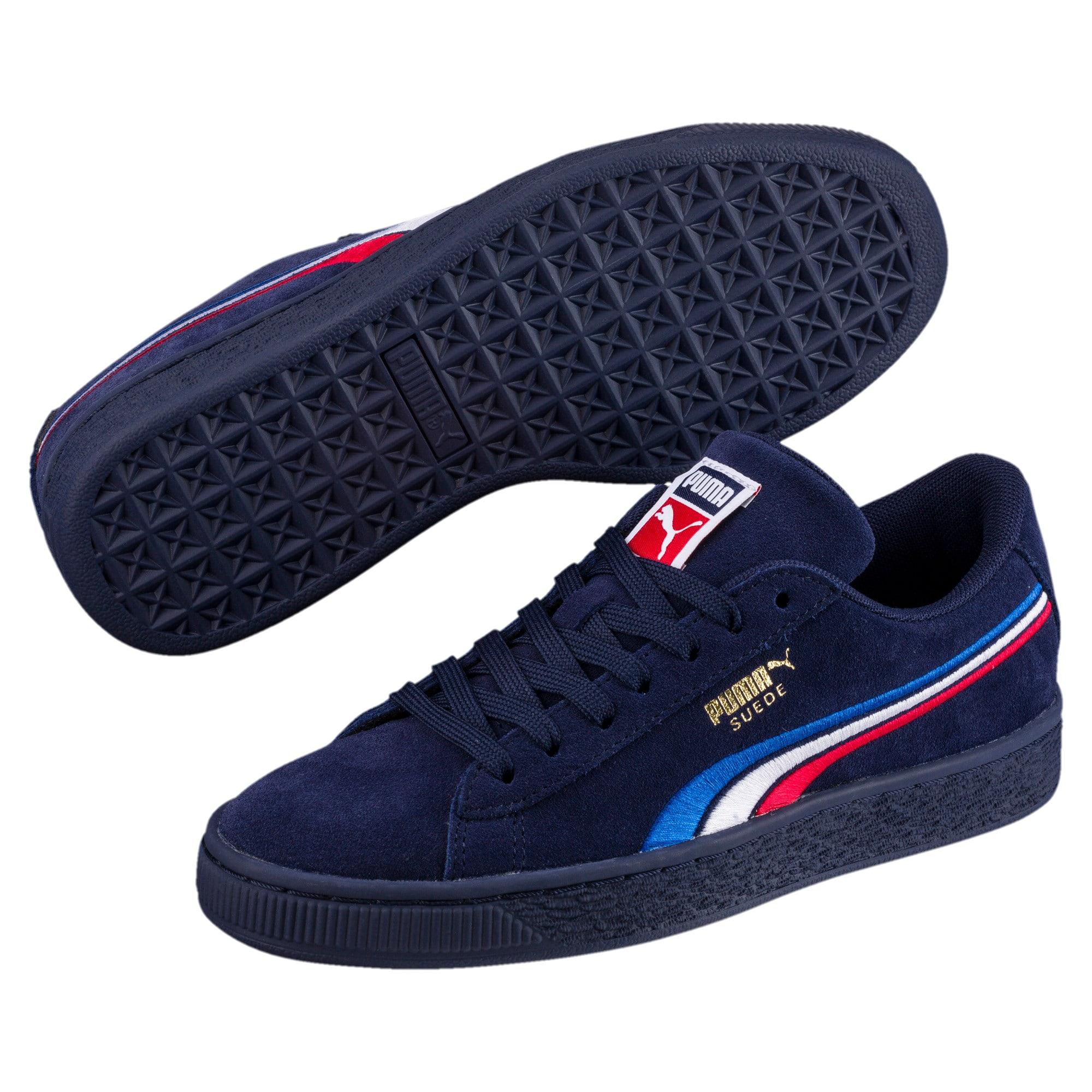 Miniatura 2 de Zapatos Suede Classic con bordado multicolor para niño pequeño, Peacoat-Blanco-Rojo-Azul, mediano