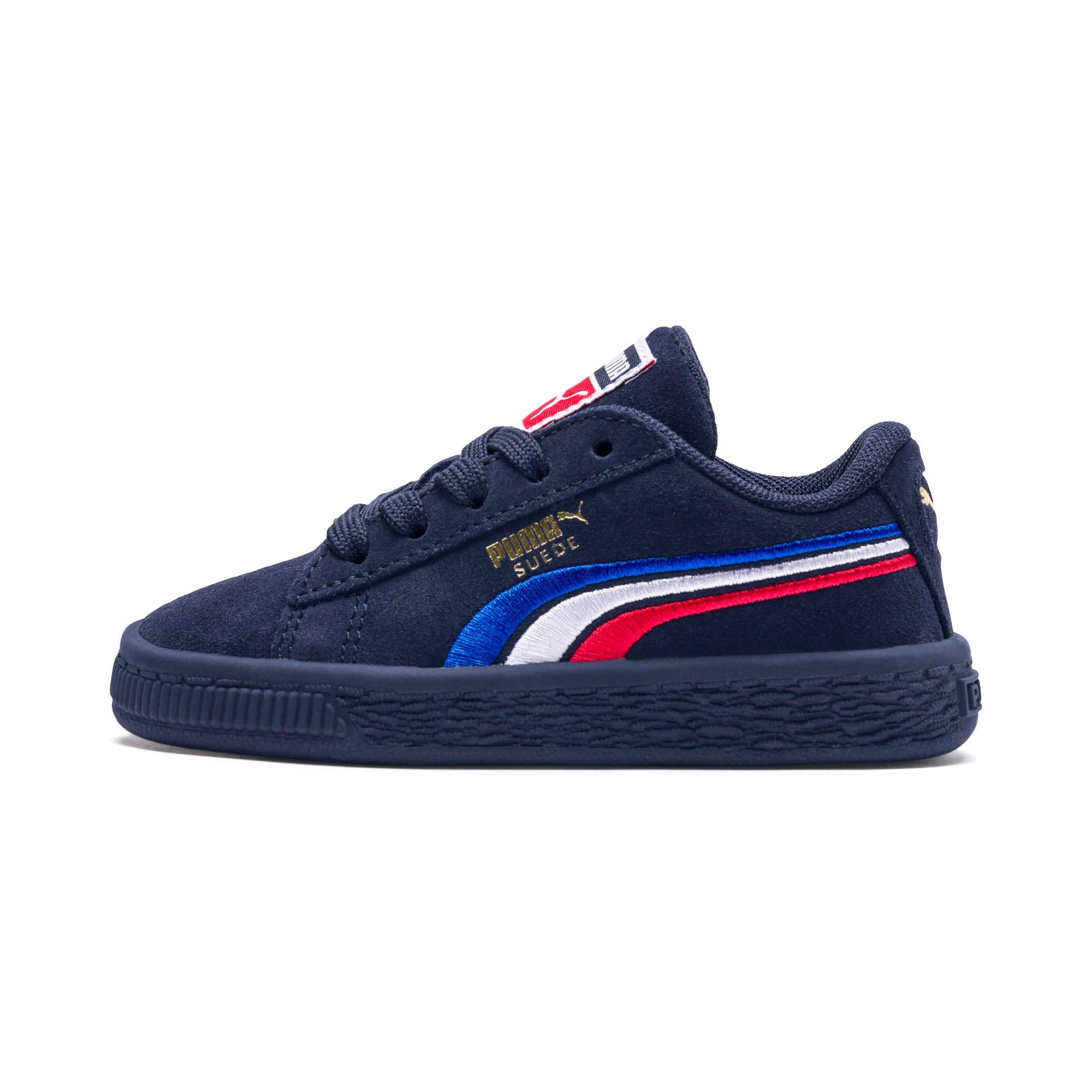 Miniatura 1 de Zapatos Suede Classic con bordado multicolor para niño pequeño, Peacoat-Blanco-Rojo-Azul, mediano