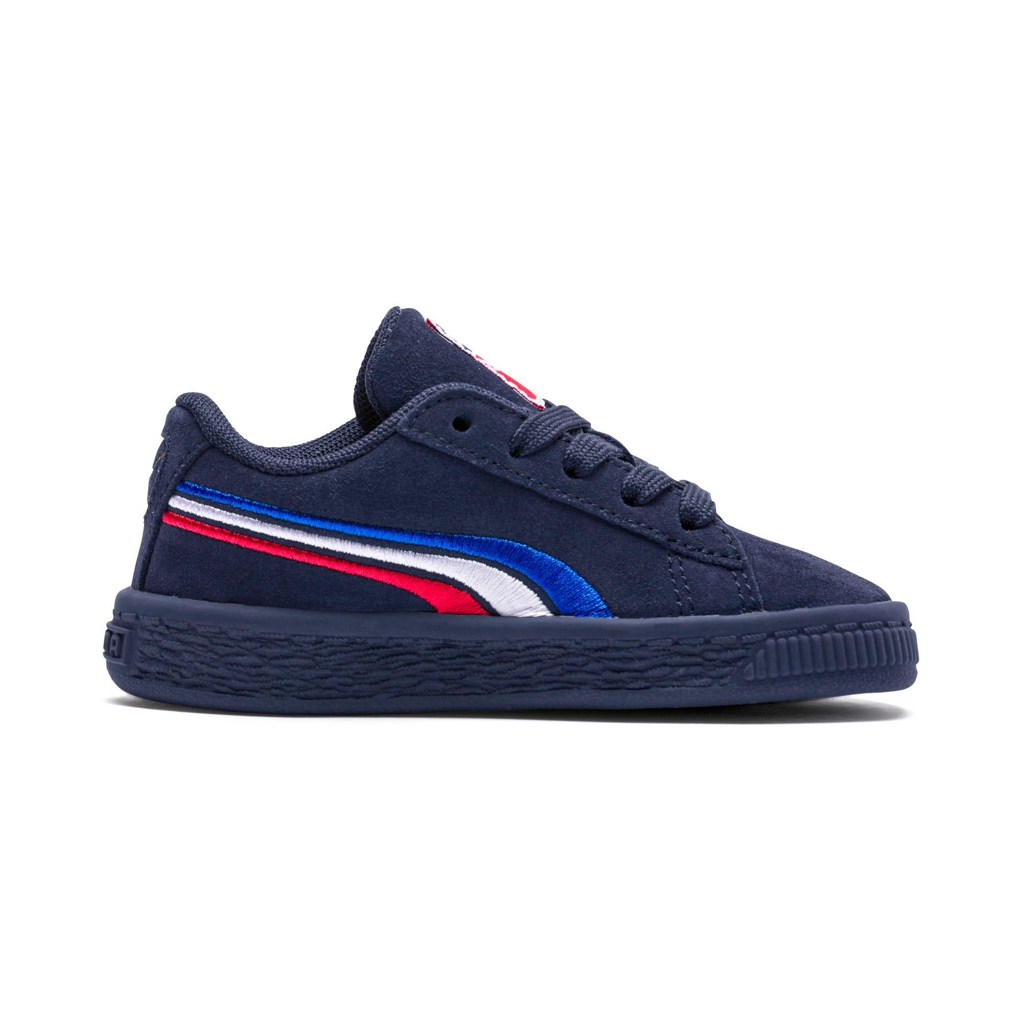 Miniatura 5 de Zapatos Suede Classic con bordado multicolor para niño pequeño, Peacoat-Blanco-Rojo-Azul, mediano