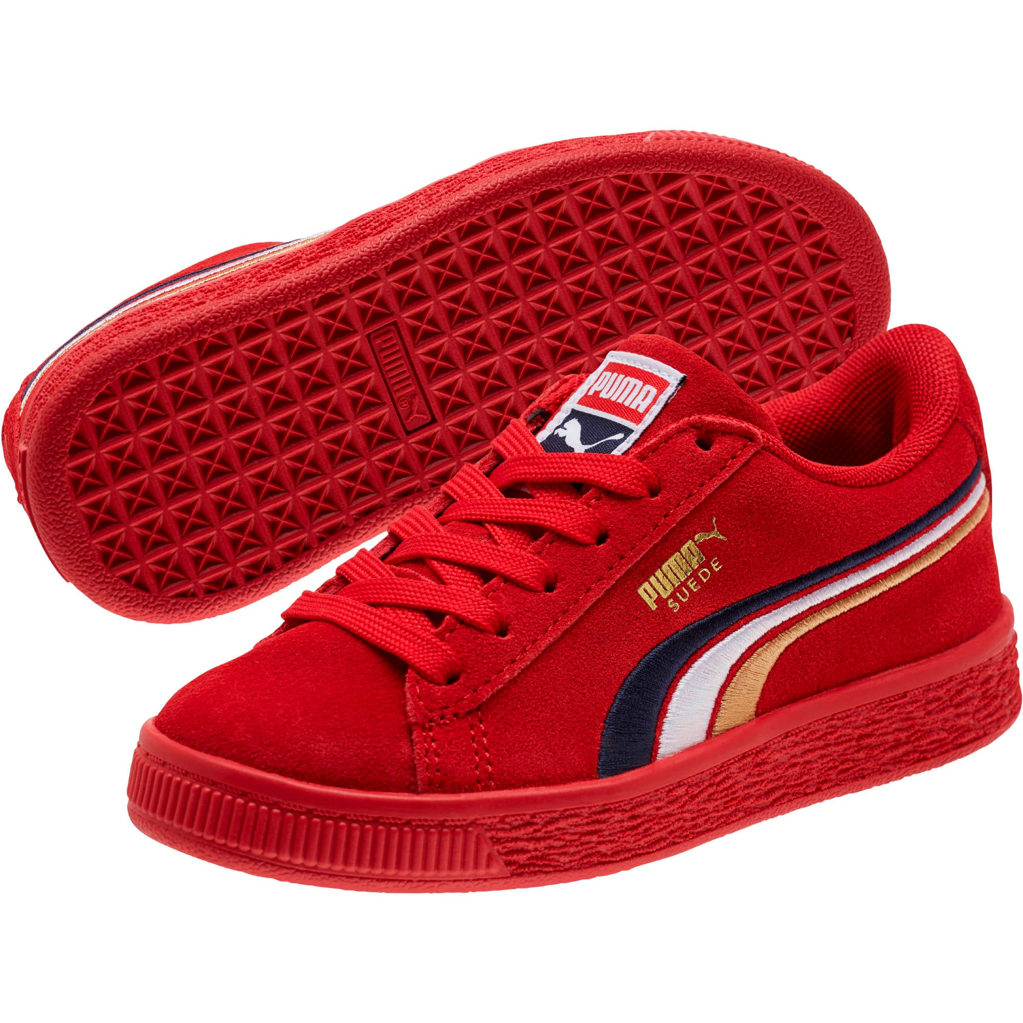 Thumbnail 2 of Suede Classic Multicolor Embroidery Little Kid's Shoes, Red-Peacoat-White-Gold, medium