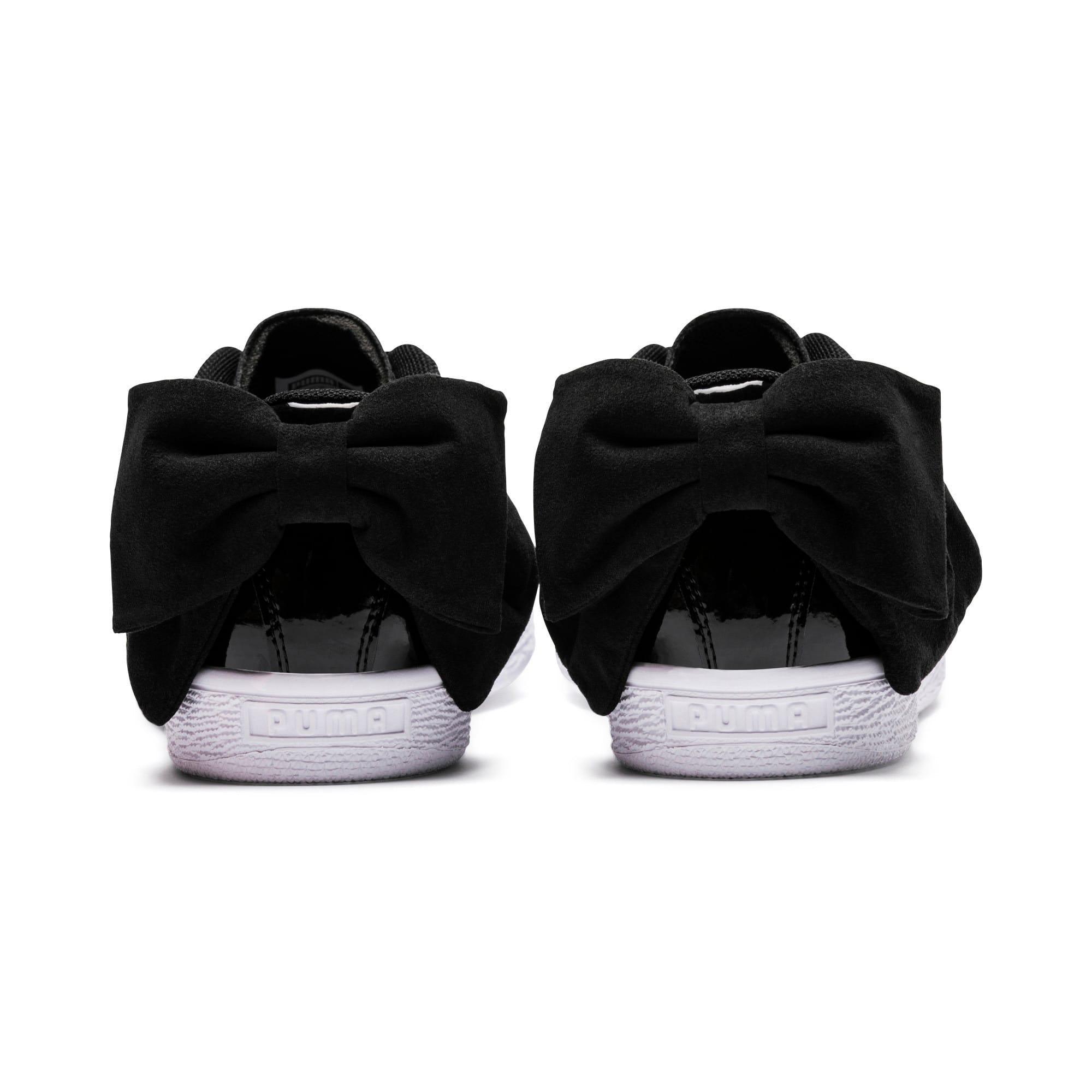 Thumbnail 4 of Basket Suede Bow Women's Sneakers, Puma Black-Puma Black, medium