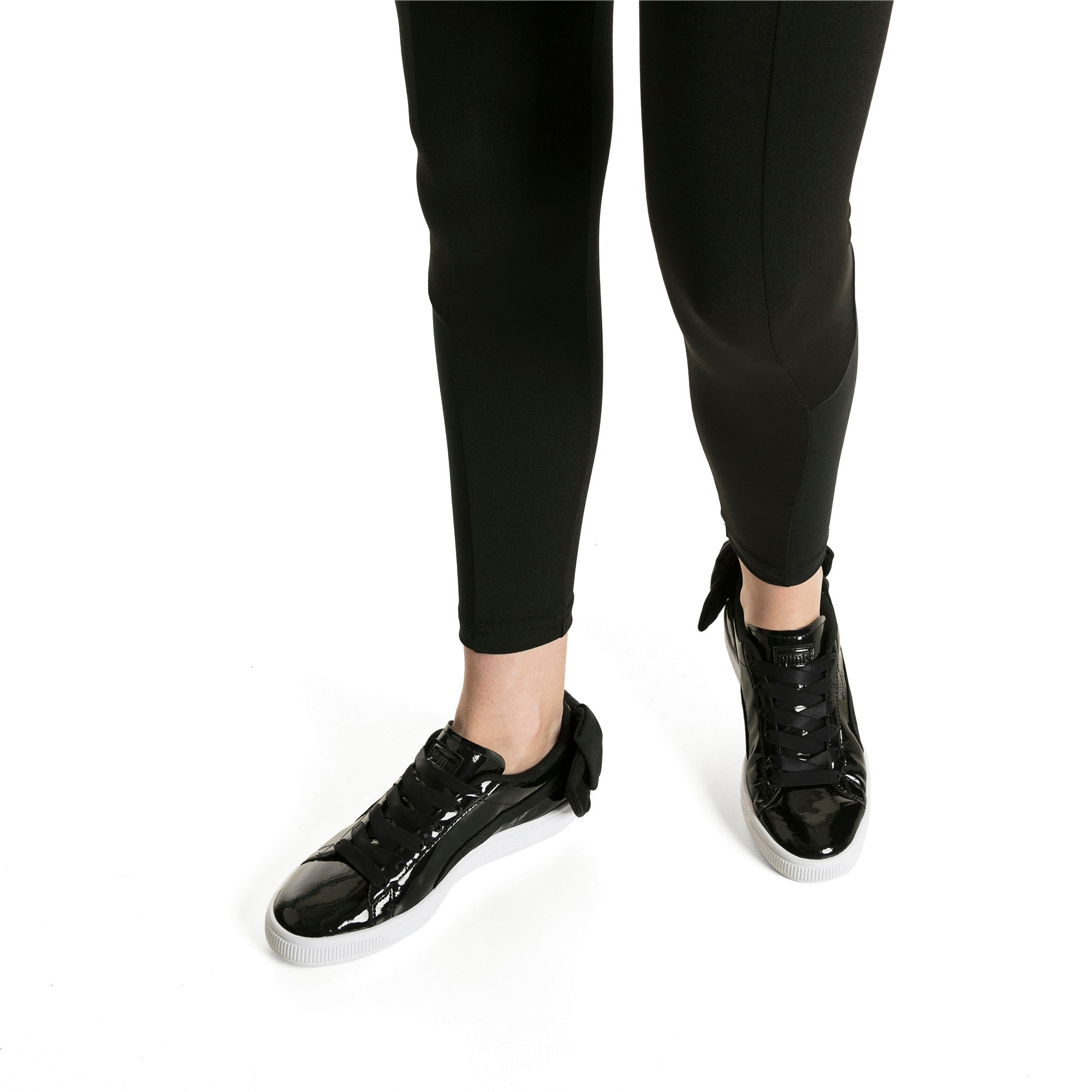 Thumbnail 7 of Basket Suede Bow Women's Sneakers, Puma Black-Puma Black, medium