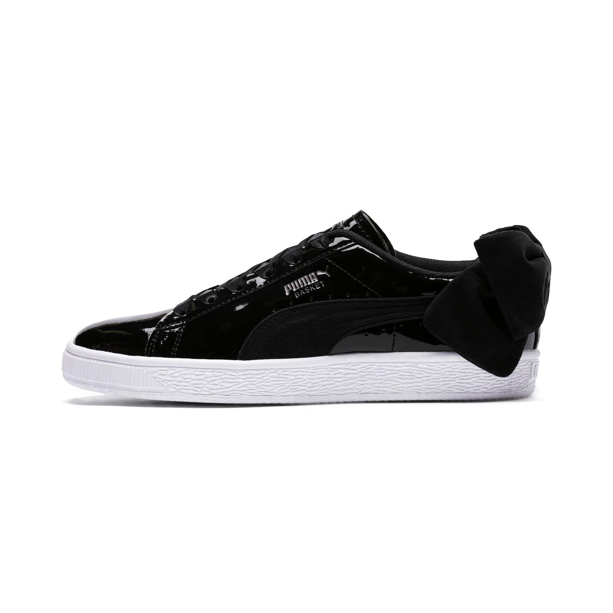 Thumbnail 1 of Basket Suede Bow Women's Sneakers, Puma Black-Puma Black, medium