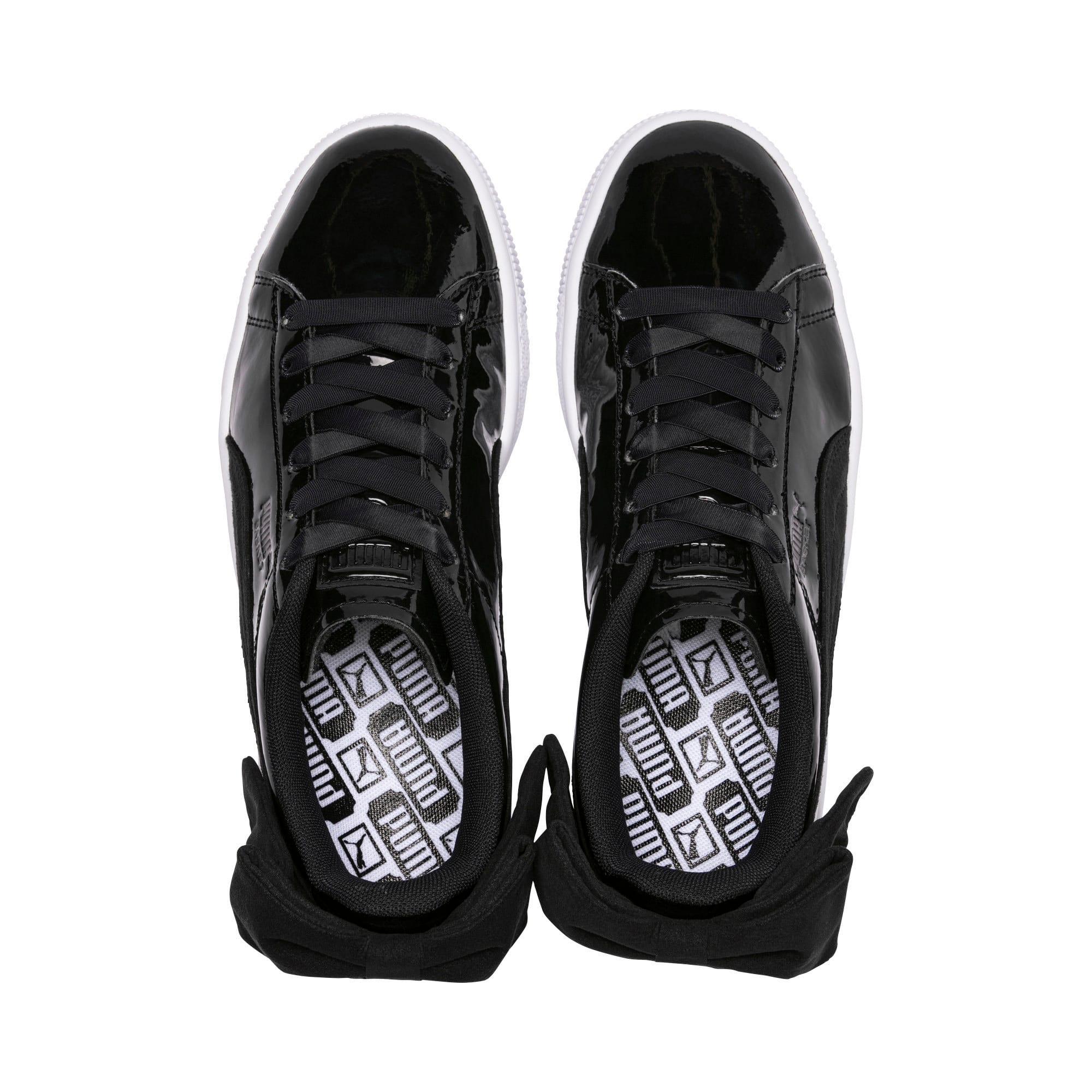 Thumbnail 6 of Basket Suede Bow Women's Sneakers, Puma Black-Puma Black, medium