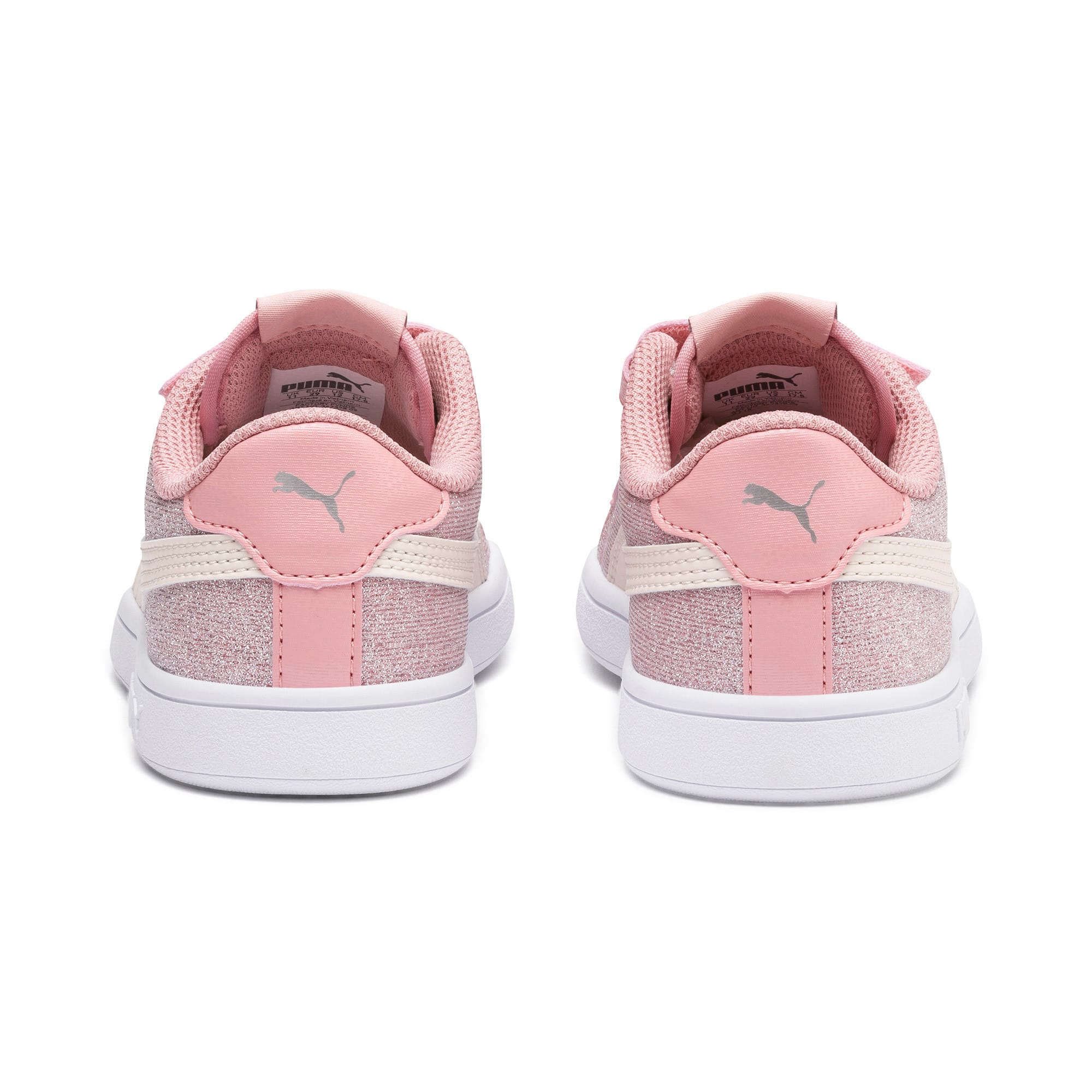 Thumbnail 3 of PUMA Smash v2 Glitz Glam Kid Girls' Trainers, B Rose-P Parchment-Silv-Wht, medium
