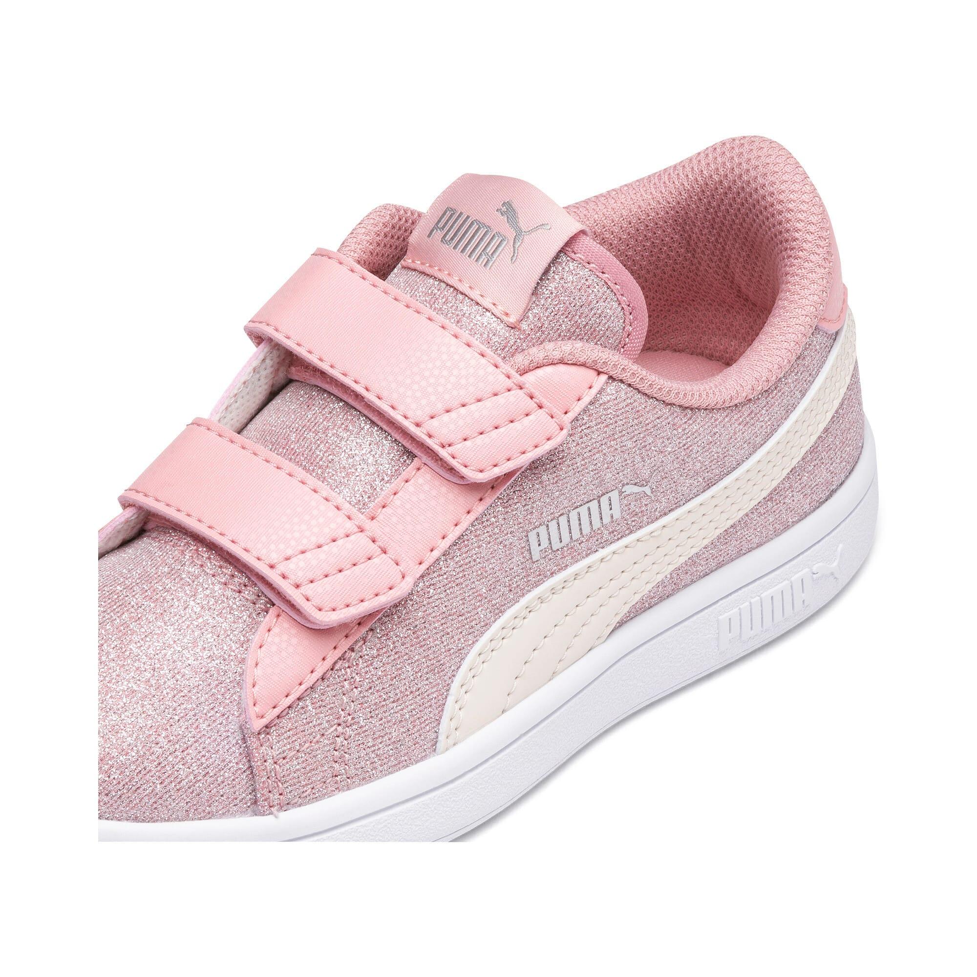 Thumbnail 7 of PUMA Smash v2 Glitz Glam Little Kids' Shoes, B Rose-P Parchment-Silv-Wht, medium