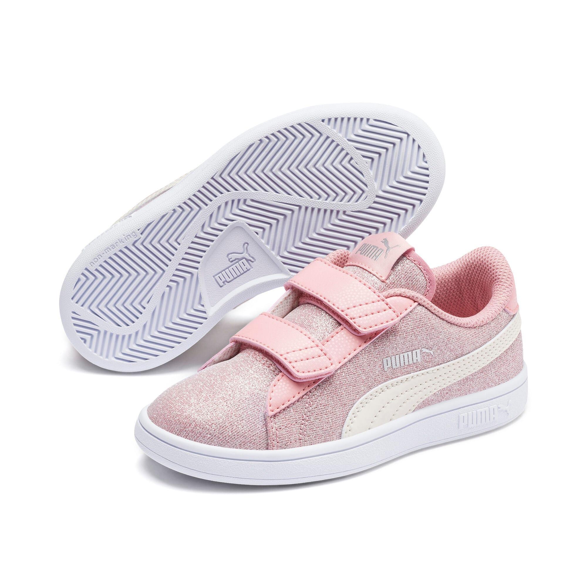 Thumbnail 2 of PUMA Smash v2 Glitz Glam Little Kids' Shoes, B Rose-P Parchment-Silv-Wht, medium