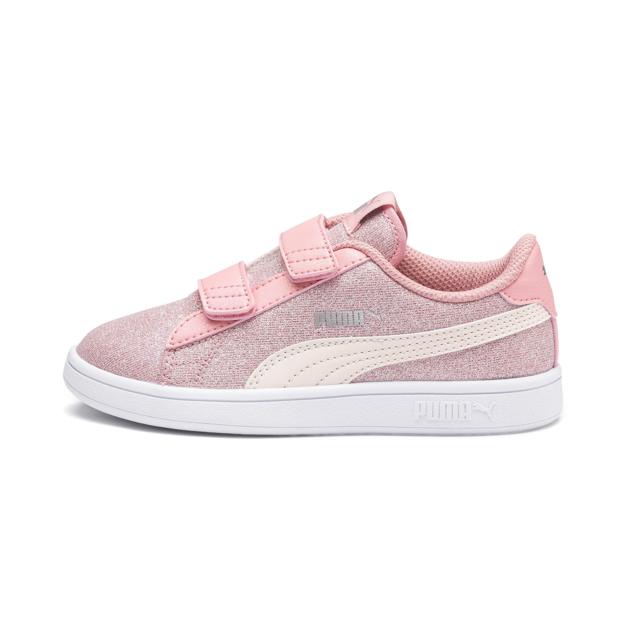 Thumbnail 1 of PUMA Smash v2 Glitz Glam Kid Girls' Trainers, B Rose-P Parchment-Silv-Wht, medium