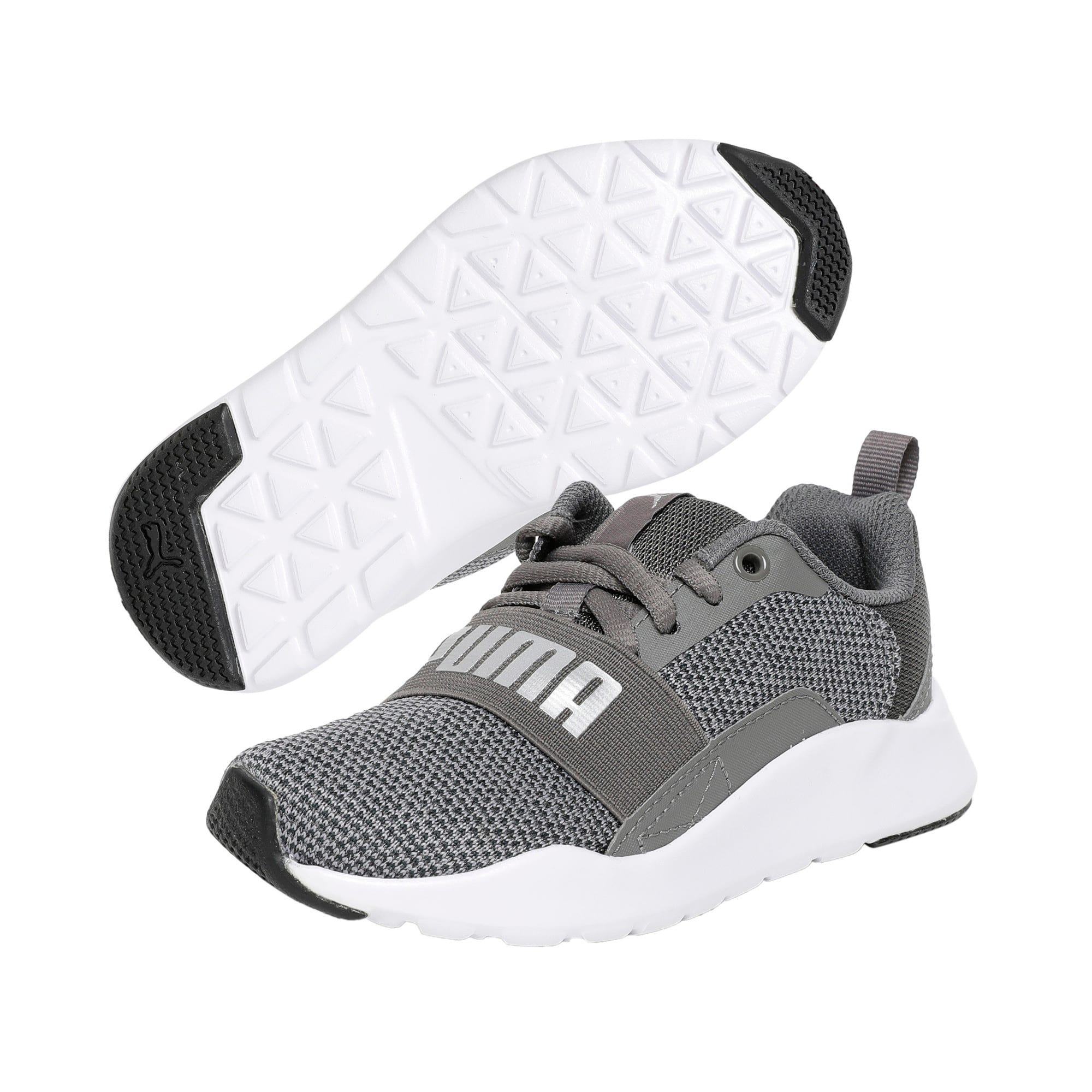 Thumbnail 2 of Wired Knit Kids' Trainers, Charcoal Gray-Puma Silver, medium-IND