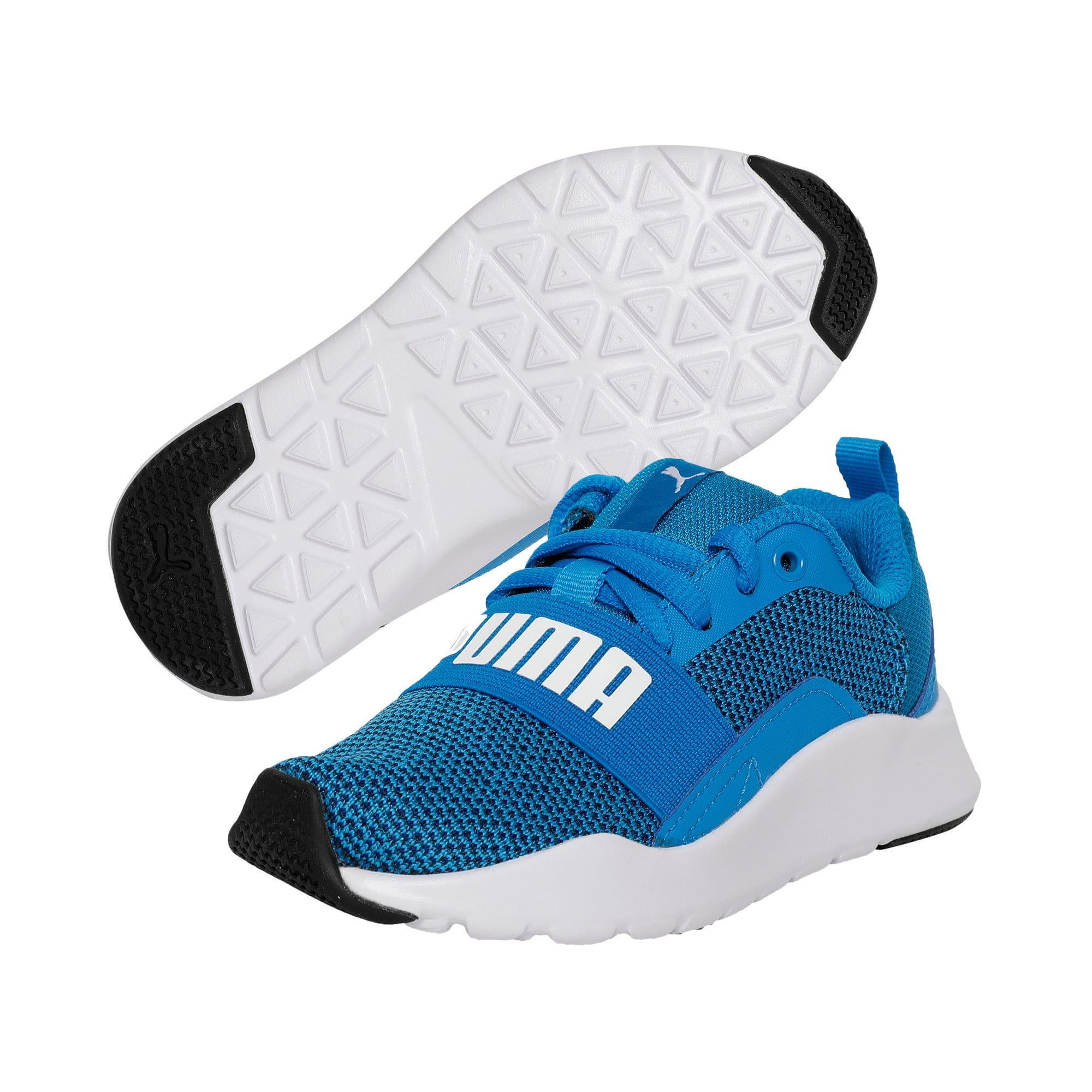 Thumbnail 2 of Wired Knit Kids' Trainers, Indigo Bunting-Puma White, medium-IND