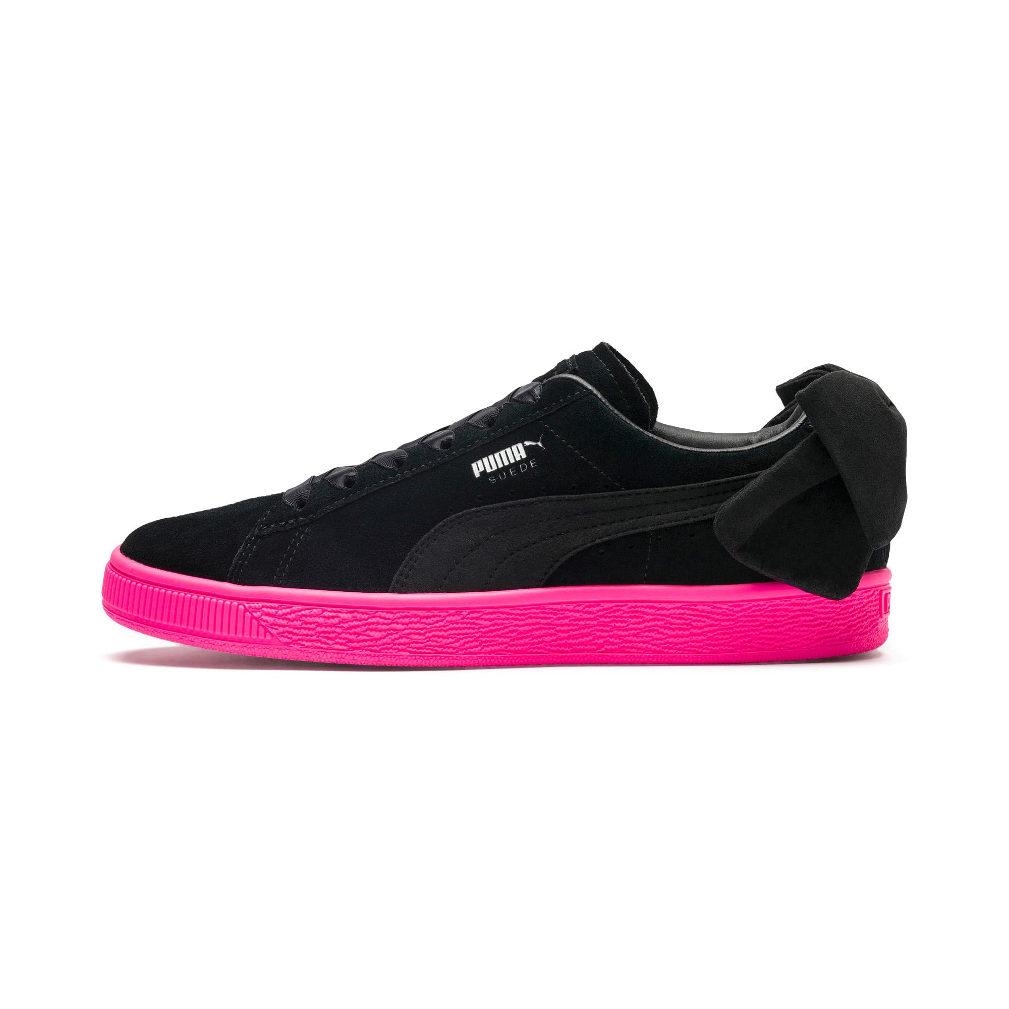 Thumbnail 1 of Suede Bow Block Women's Sneakers, Puma Black-Puma Black, medium