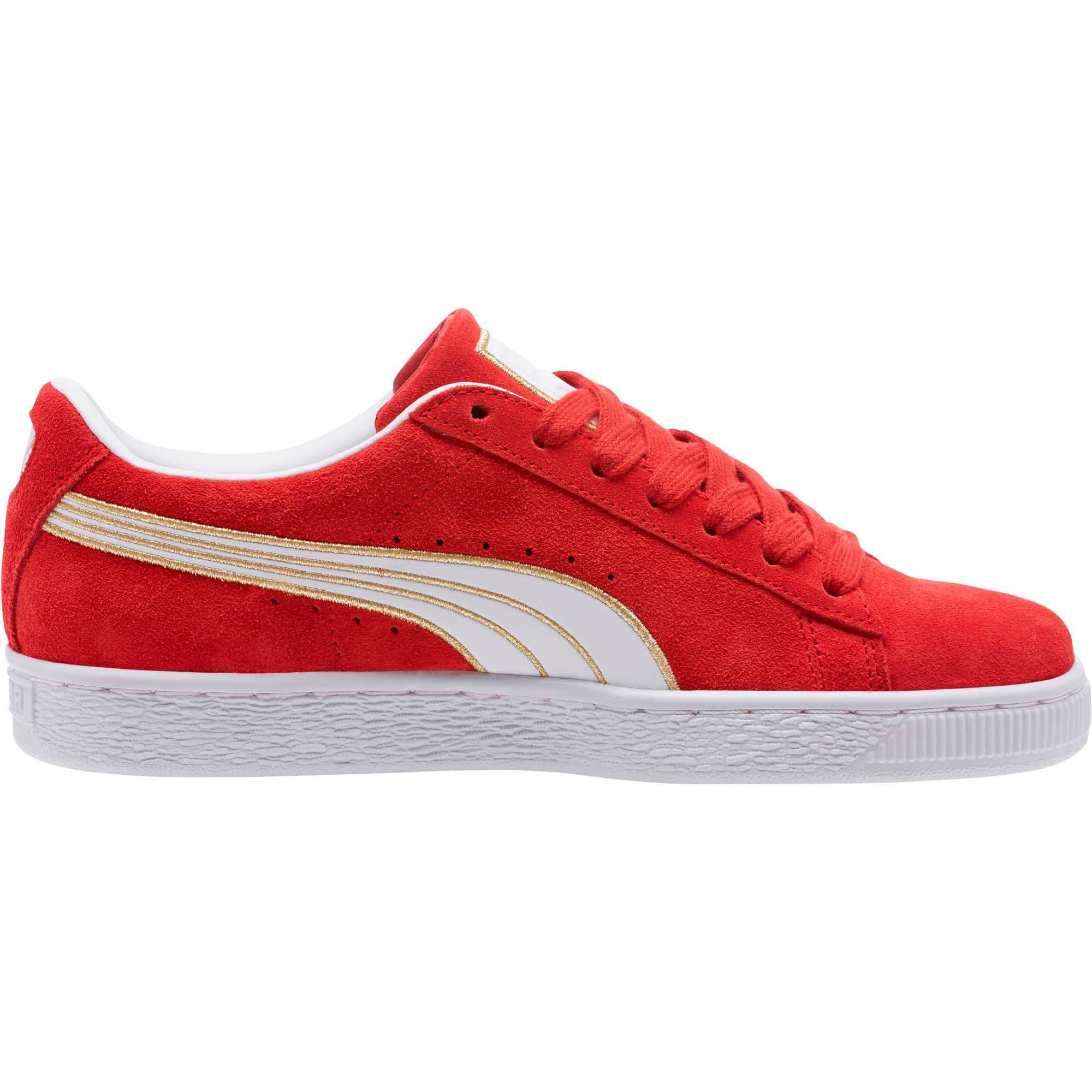 Thumbnail 3 of Suede Varsity Women's Sneakers, Ribbon Red-Puma White, medium