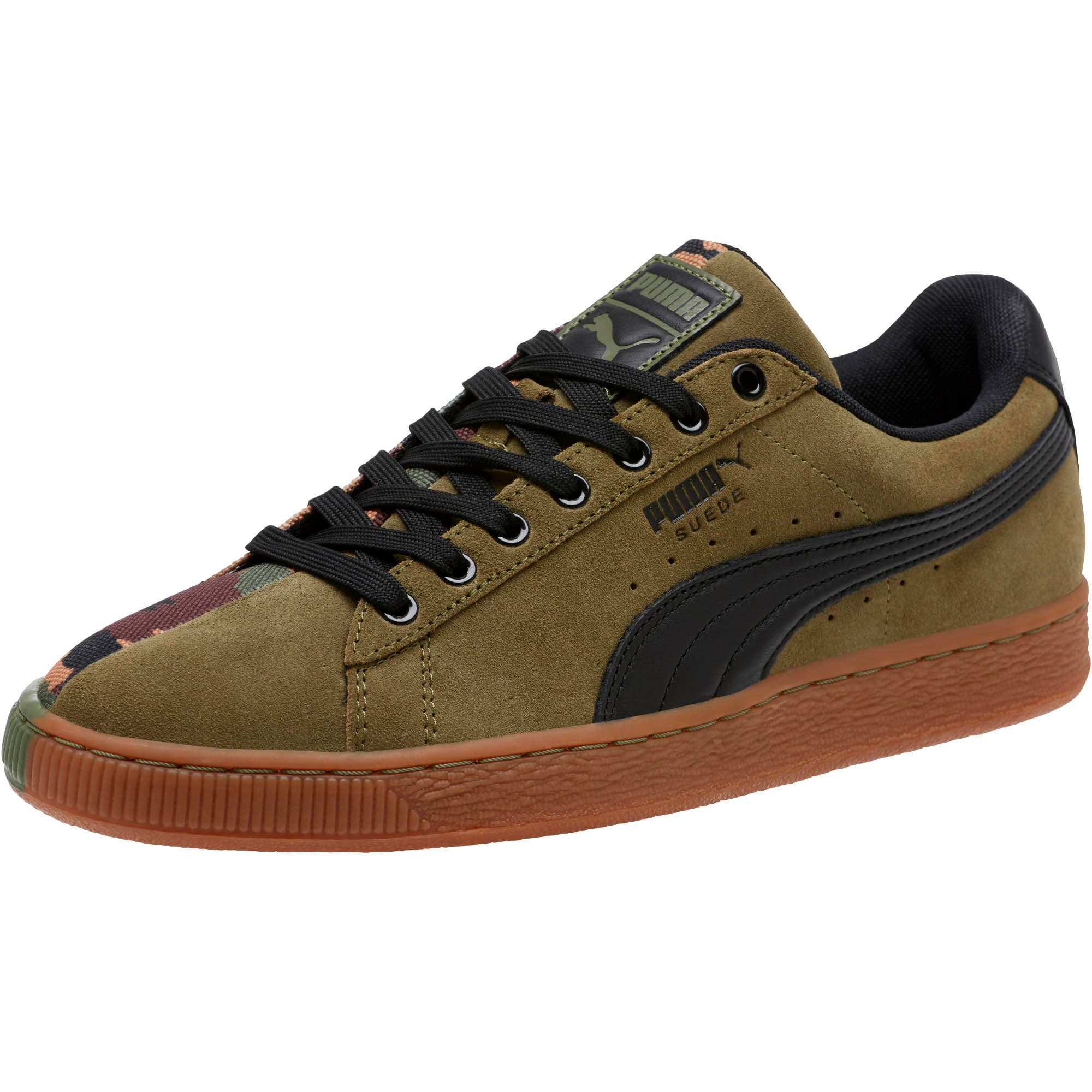 Suede SP Sneakers, Burnt Olive-Puma Black, large