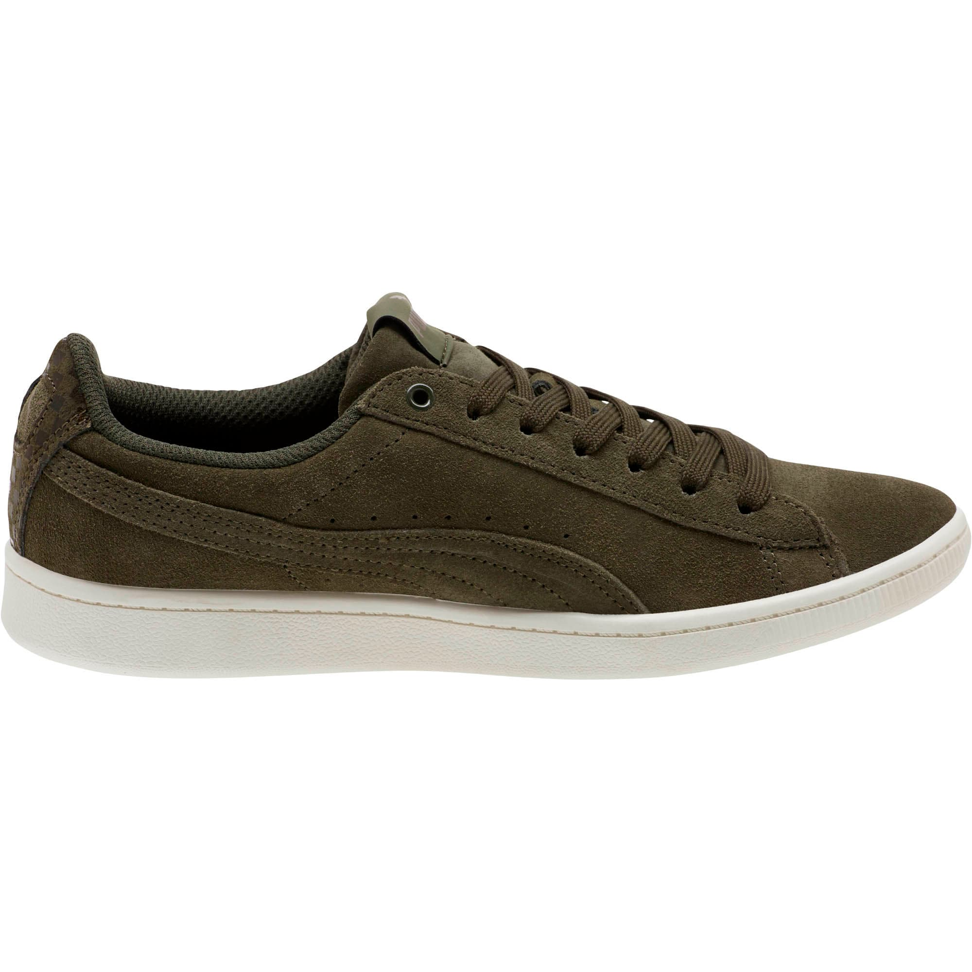 Thumbnail 3 of PUMA Vikky All-Over Suede Women's Sneakers, Forest Night-Metallic Bronze, medium
