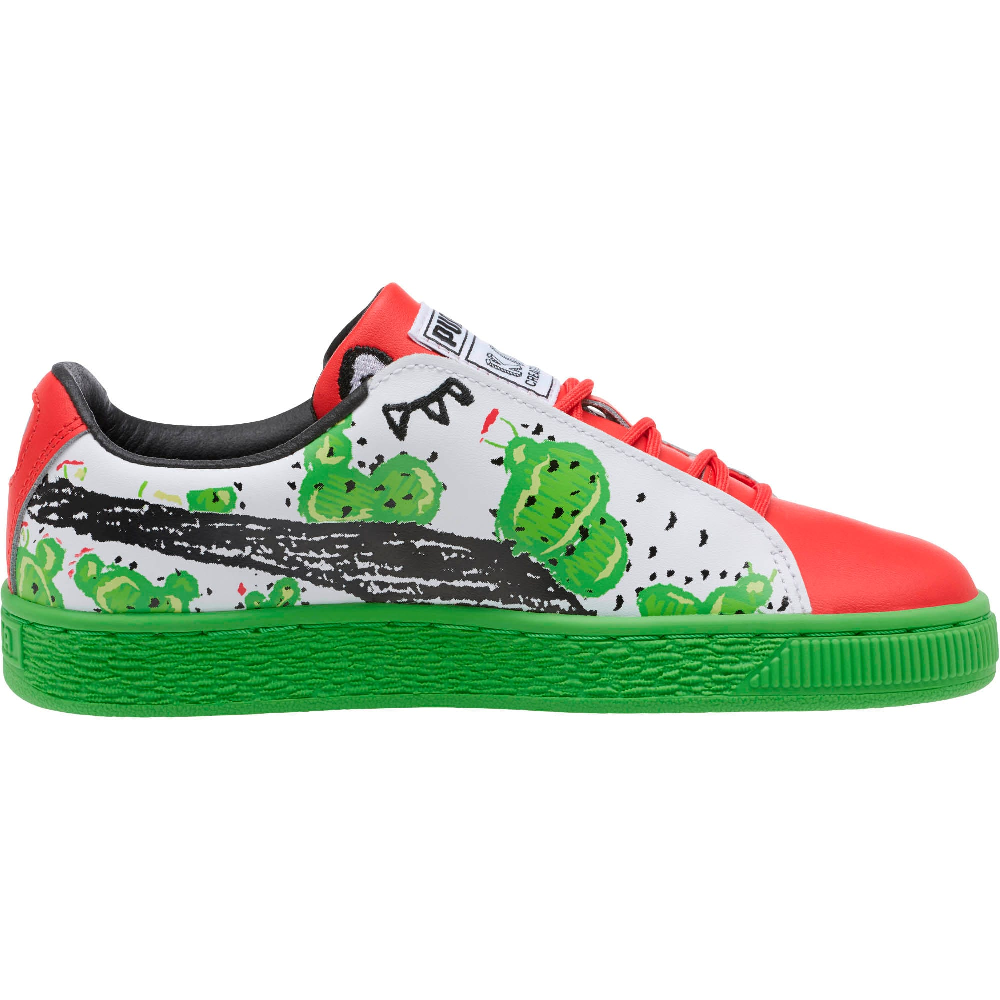 Basket Cactus Monster Sneakers JR, Poinsettia-Green-White, large