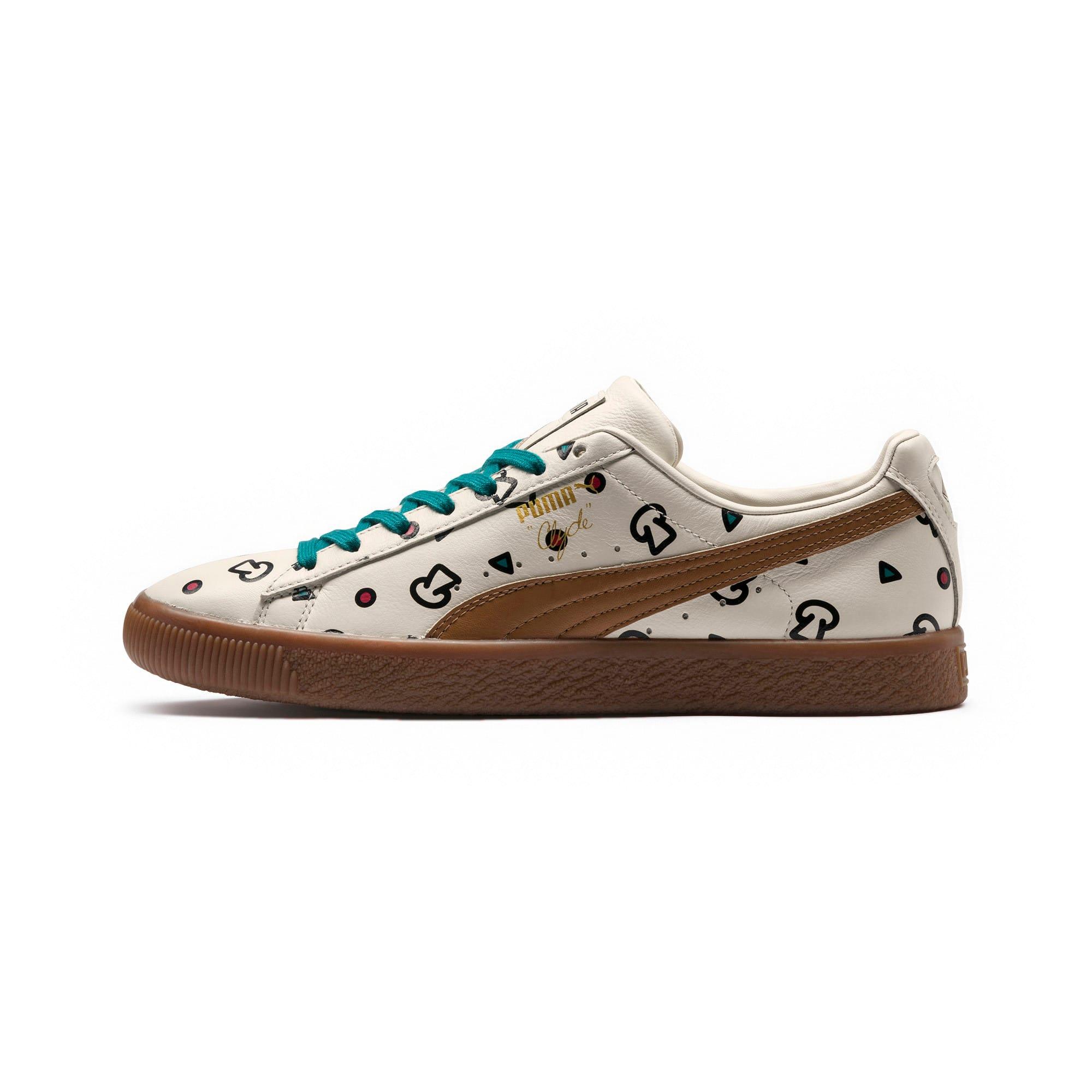 Thumbnail 1 of PUMA x TYAKASHA Clyde Graphic Sneakers, Birch, medium