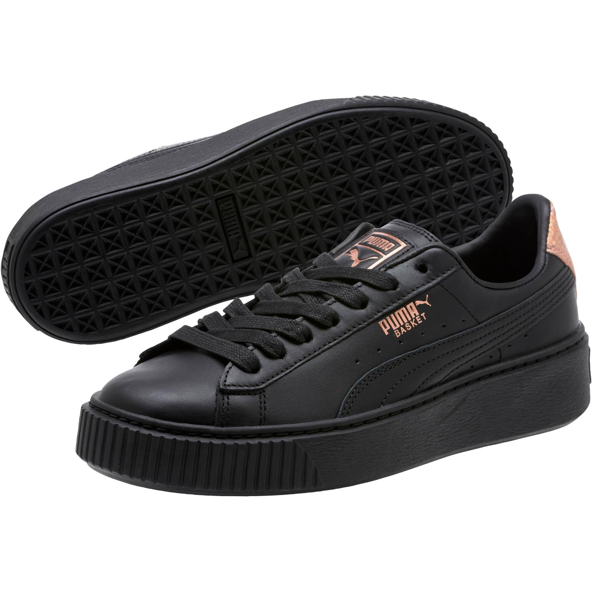 Thumbnail 2 of Basket Platform RG Women's Sneakers, Puma Black-Rose Gold, medium