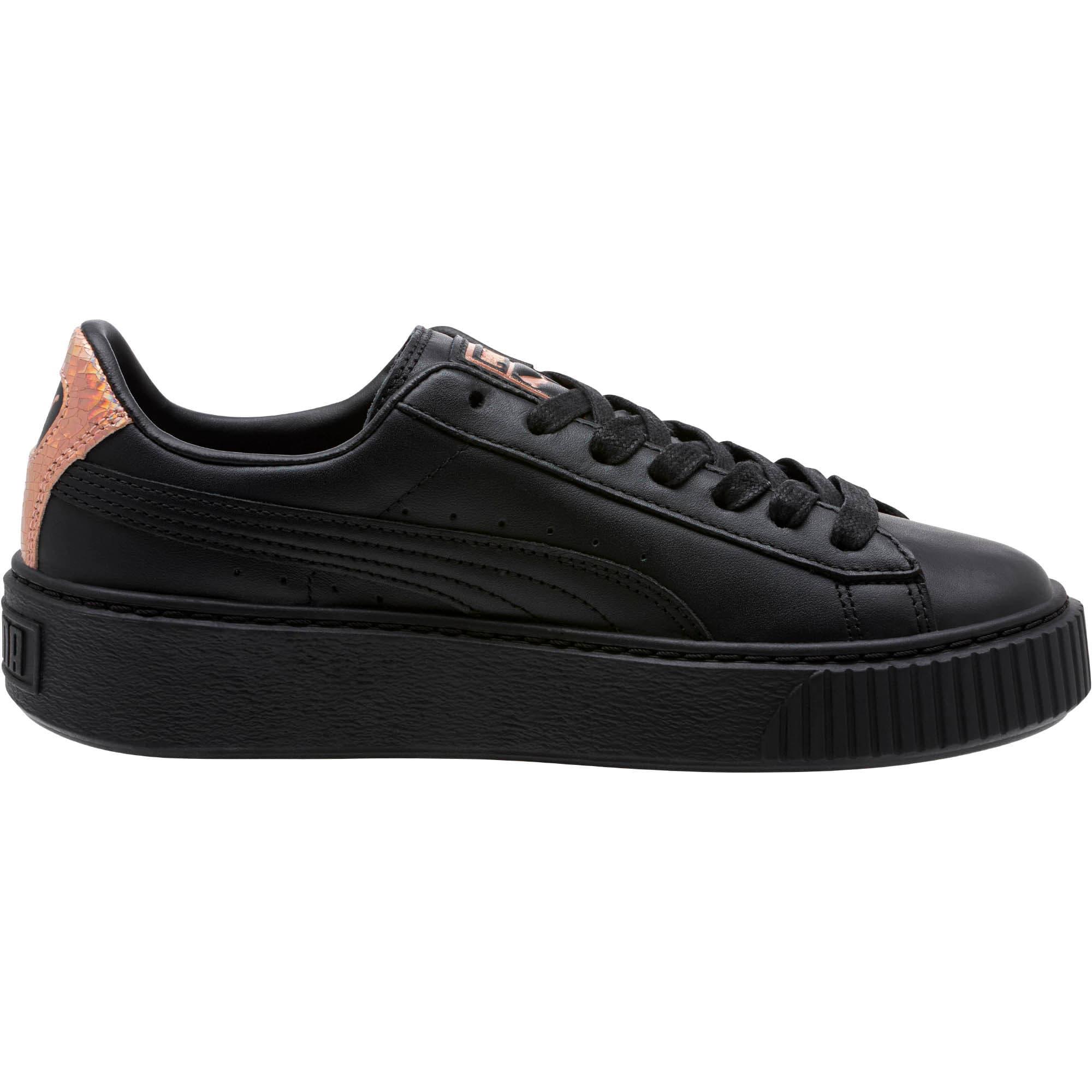 Thumbnail 3 of Basket Platform RG Women's Sneakers, Puma Black-Rose Gold, medium