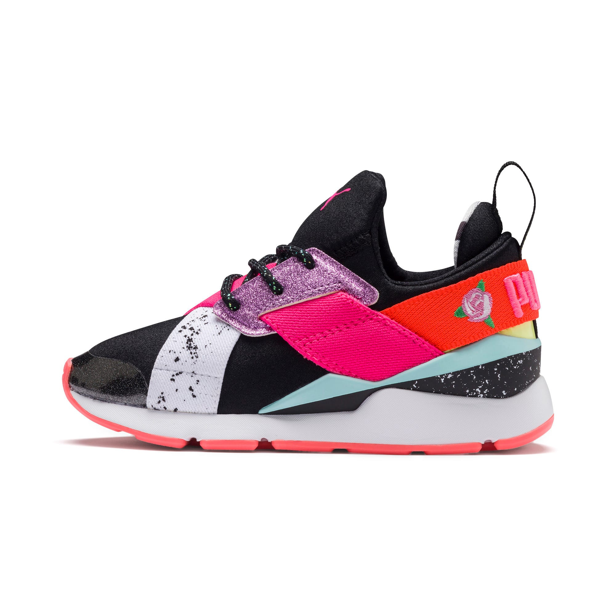 Thumbnail 1 of PUMA x SOPHIA WEBSTER Muse Little Kids' Shoes, Puma Black-Puma White, medium
