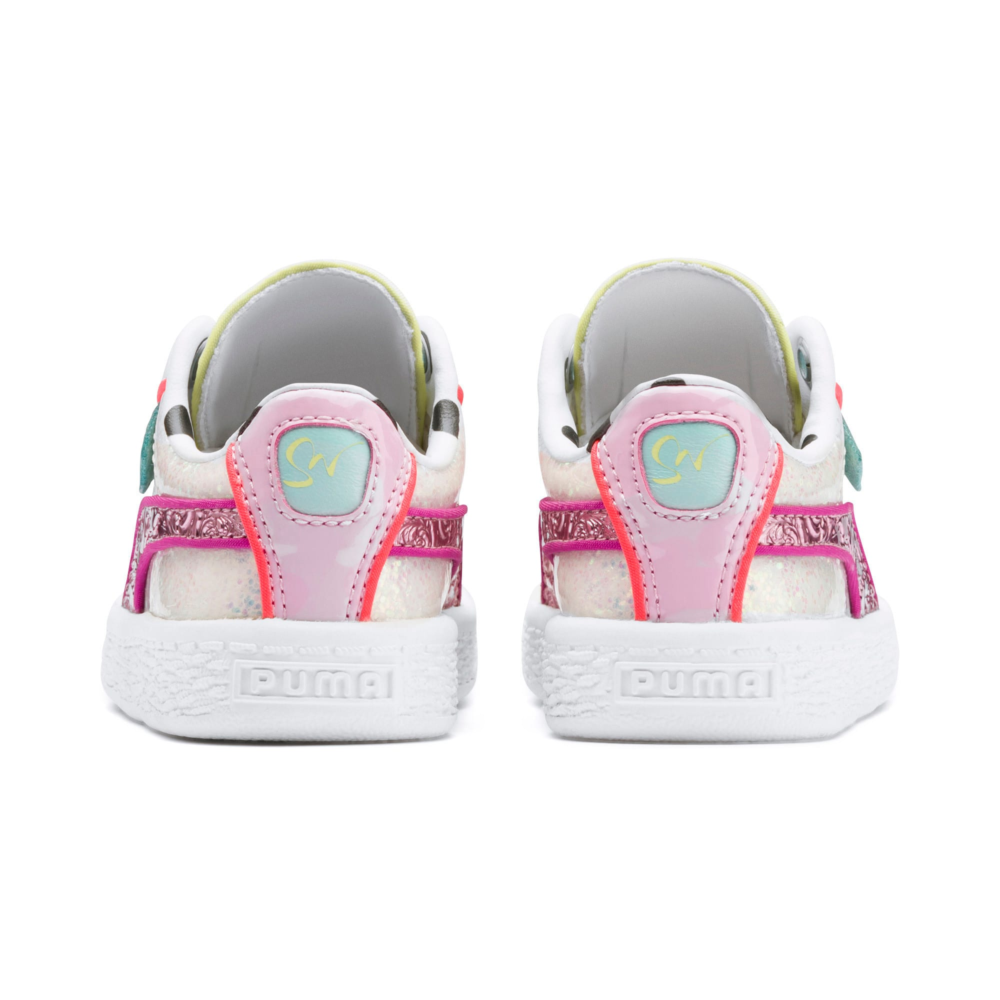 Miniatura 3 de ZapatosPUMA x SOPHIA WEBSTER Basket para bebés, Puma White-Pale Pink, mediano