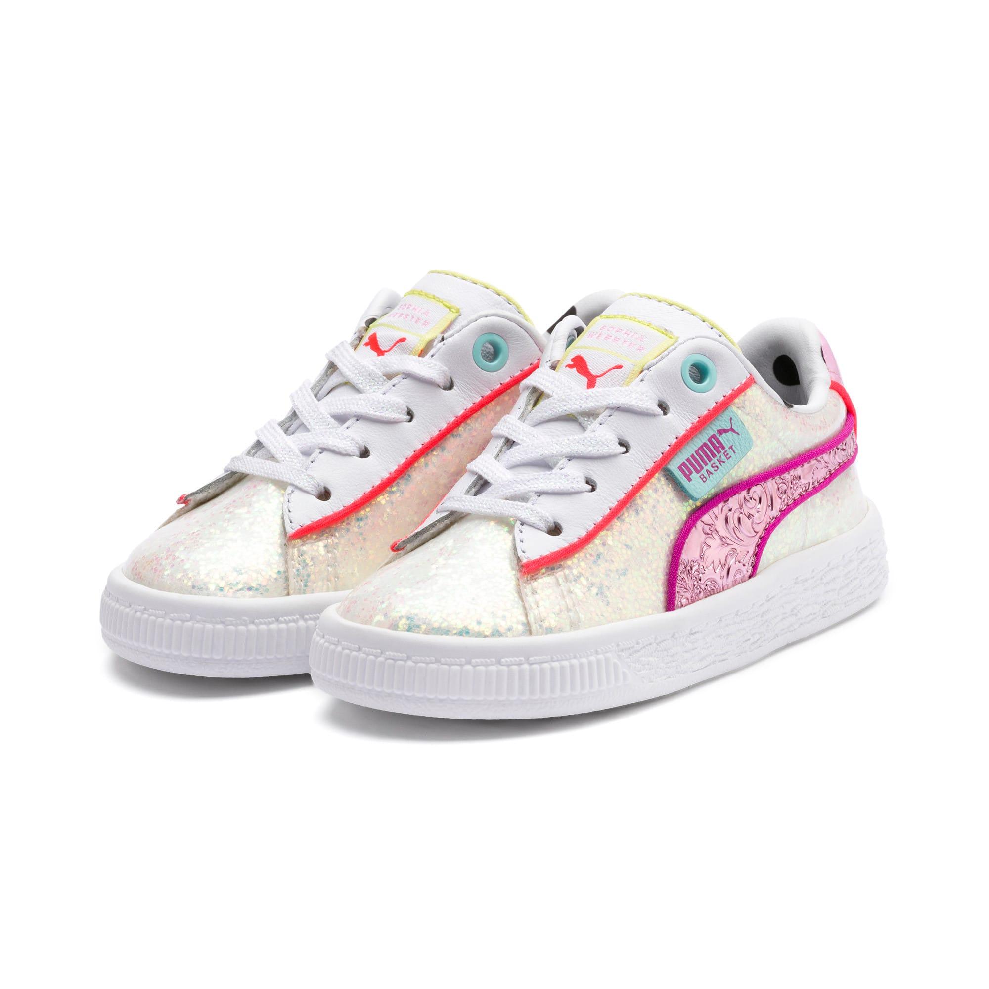 Thumbnail 2 of PUMA x SOPHIA WEBSTER Basket Toddler Shoes, Puma White-Pale Pink, medium