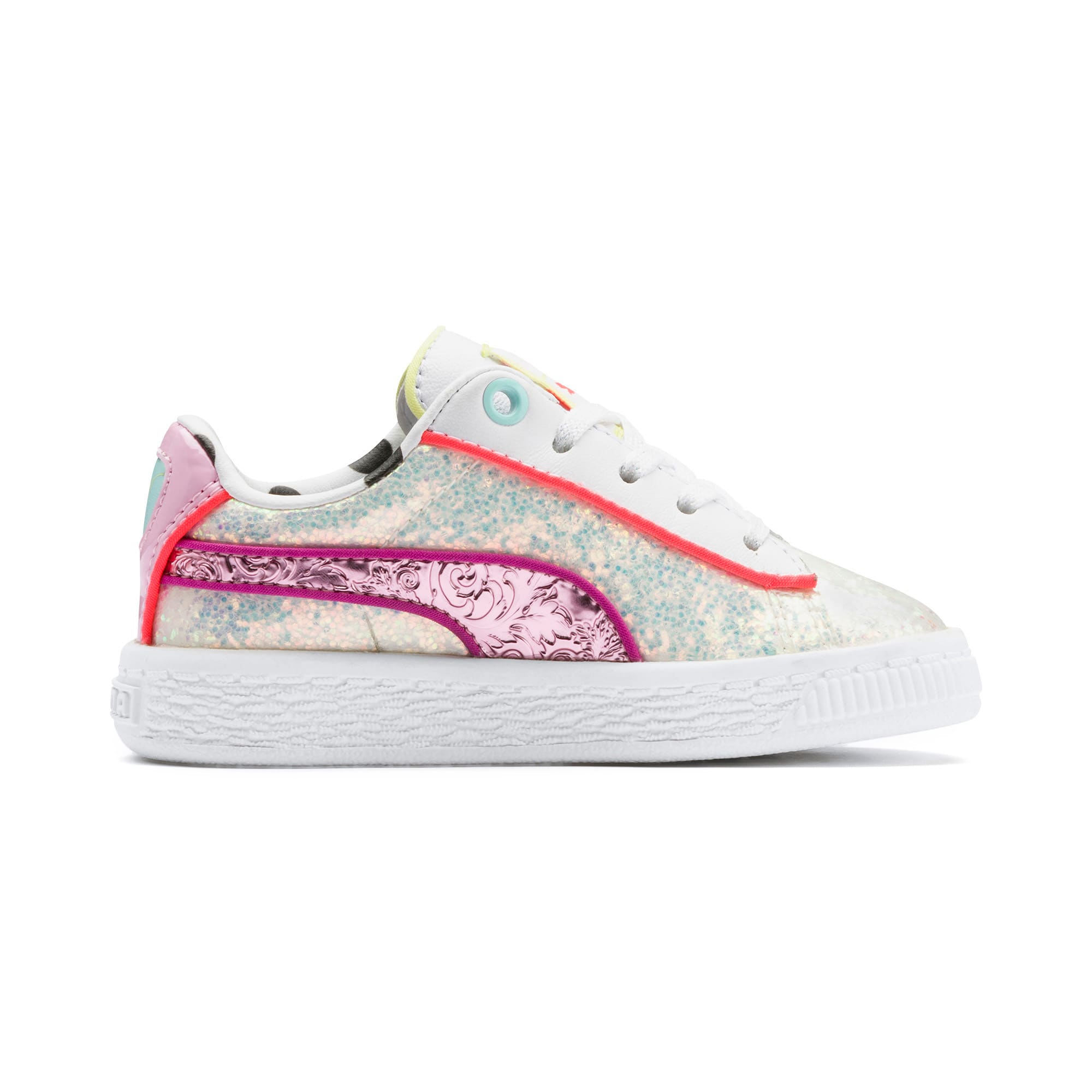Thumbnail 5 of PUMA x SOPHIA WEBSTER Basket Toddler Shoes, Puma White-Pale Pink, medium