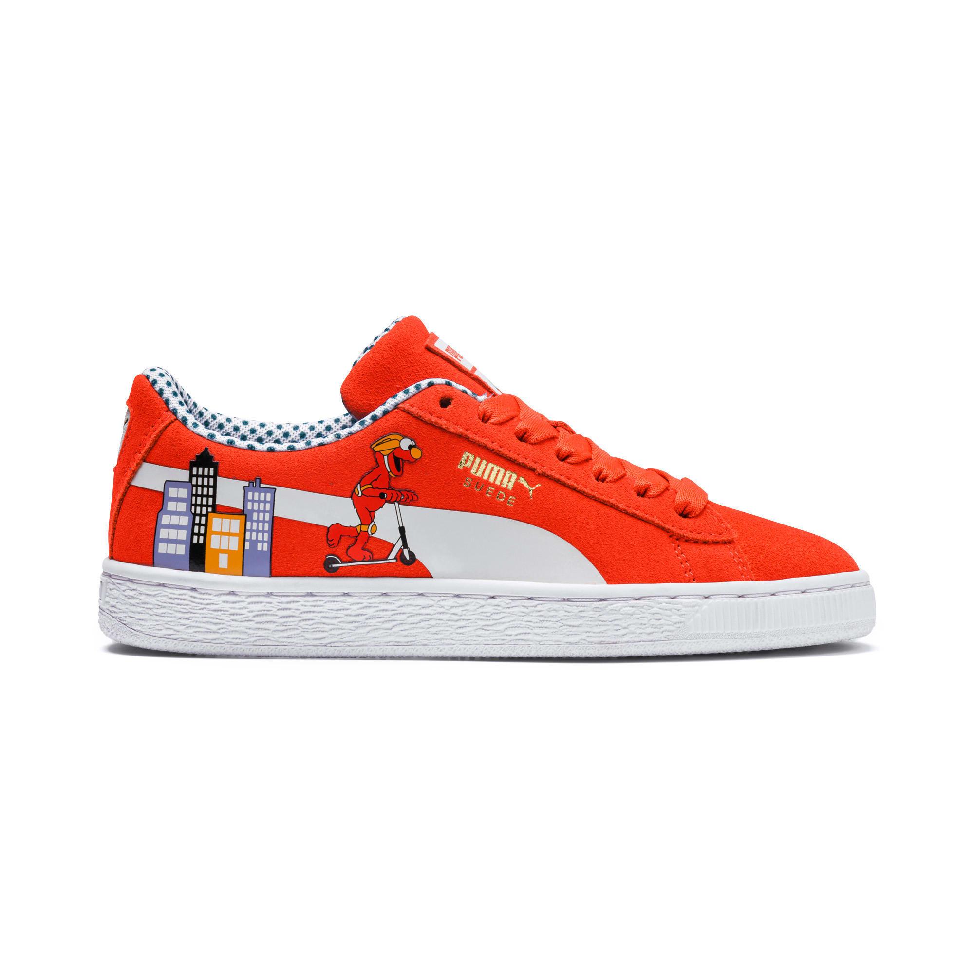Thumbnail 7 of Sesame Street 50 Suede Sneakers JR, Cherry Tomato-Puma White, medium