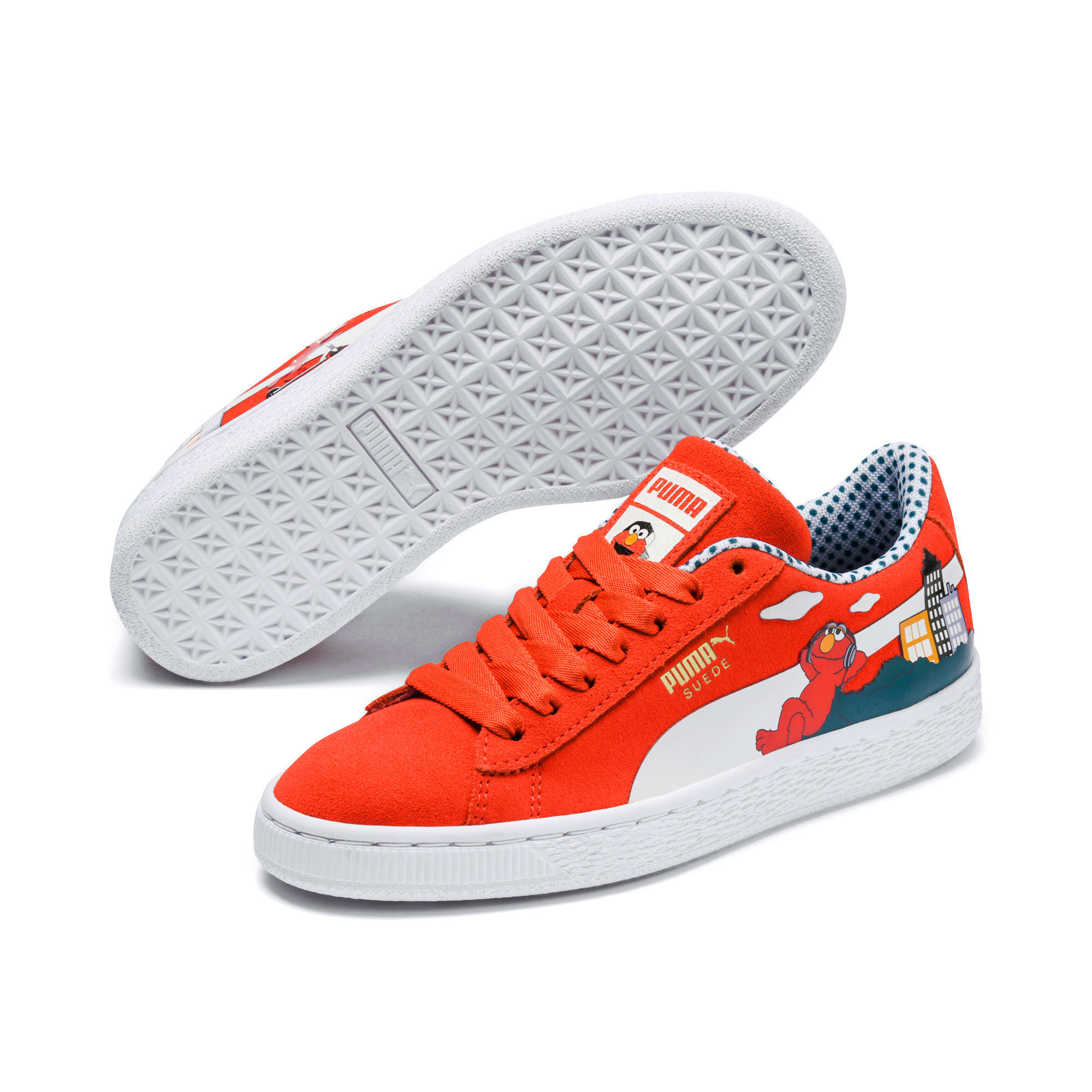Thumbnail 2 of Sesame Street 50 Suede Sneakers JR, Cherry Tomato-Puma White, medium