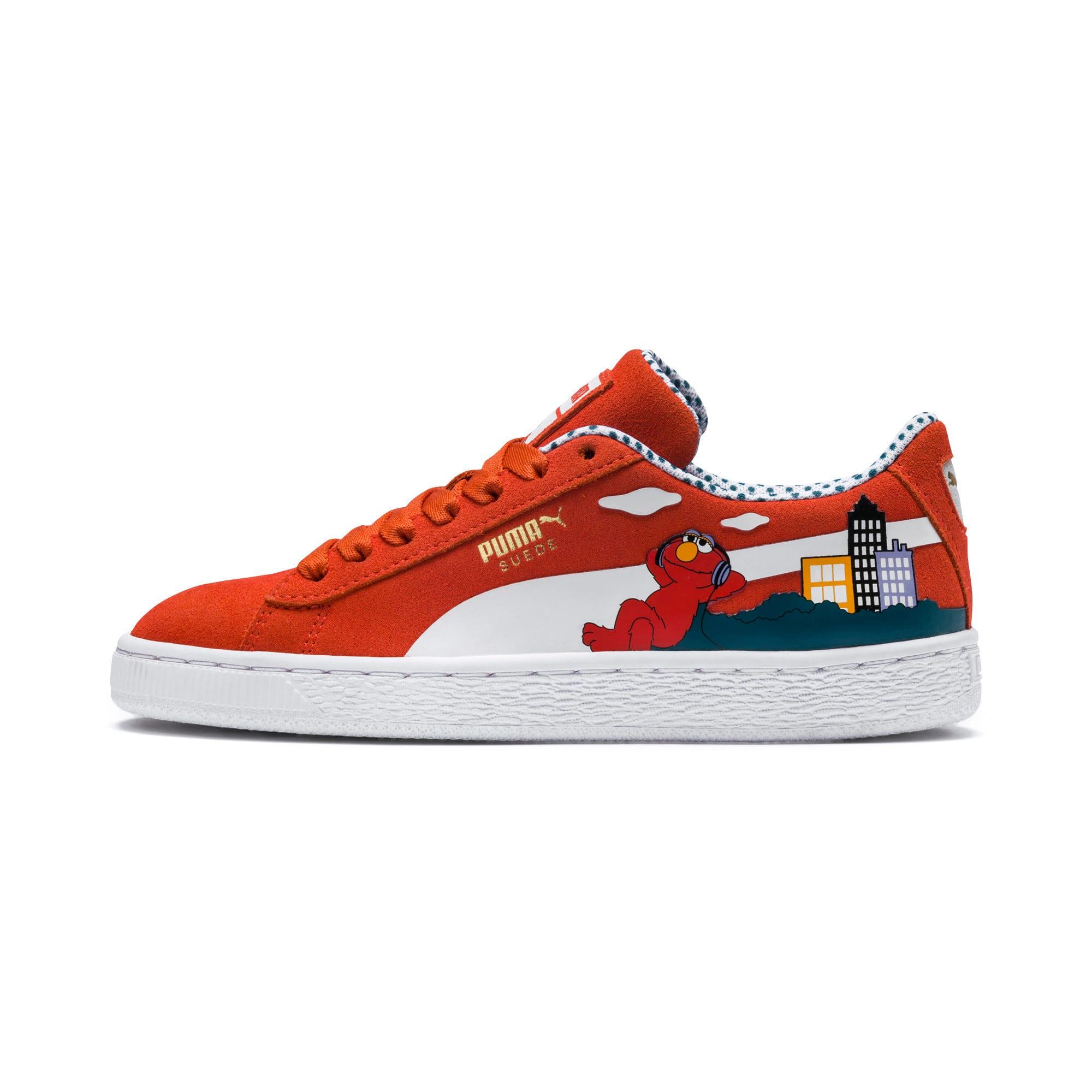 Thumbnail 1 of Sesame Street 50 Suede Sneakers JR, Cherry Tomato-Puma White, medium
